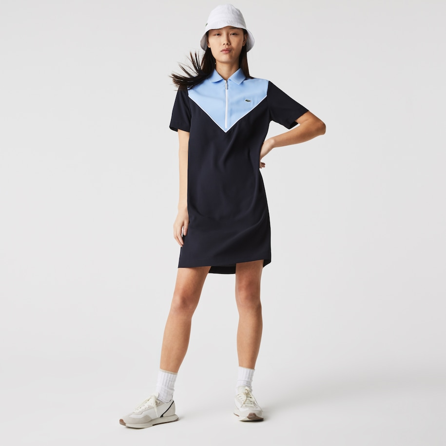 Women's Zip-Collar Colorblock Polo Dress
