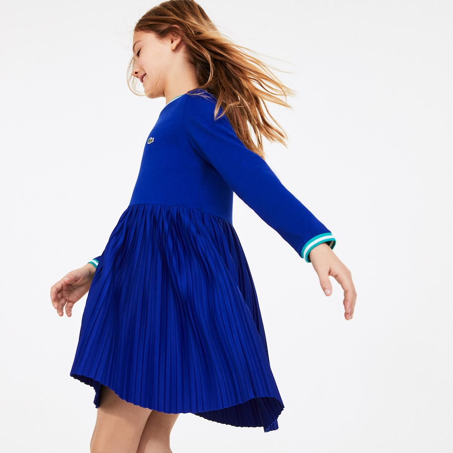 Girls' Crew Neck Pleated Cotton Dress