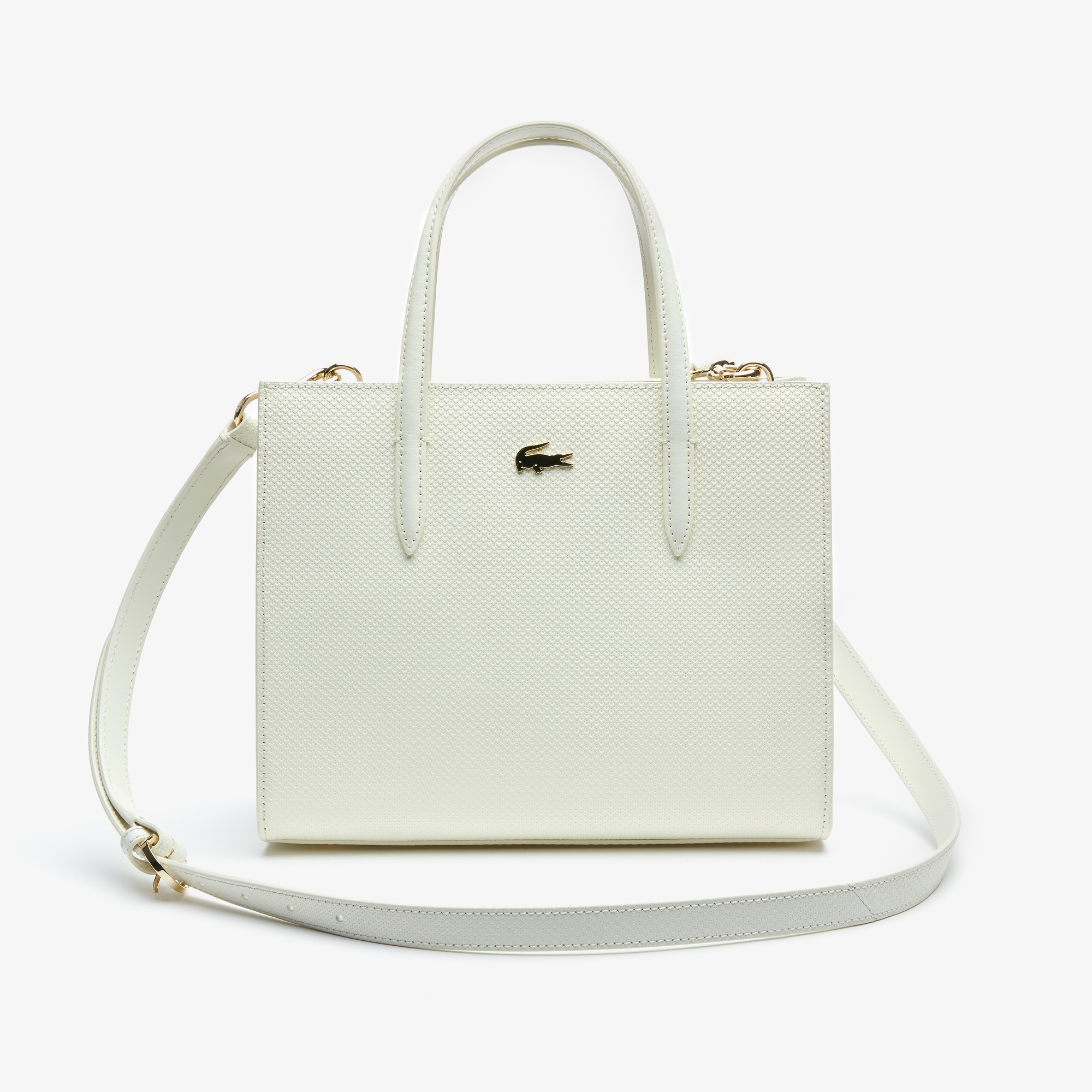라코스테 Lacoste Womens Chantaco Pique Leather Zip Tote Bag,marshmallow