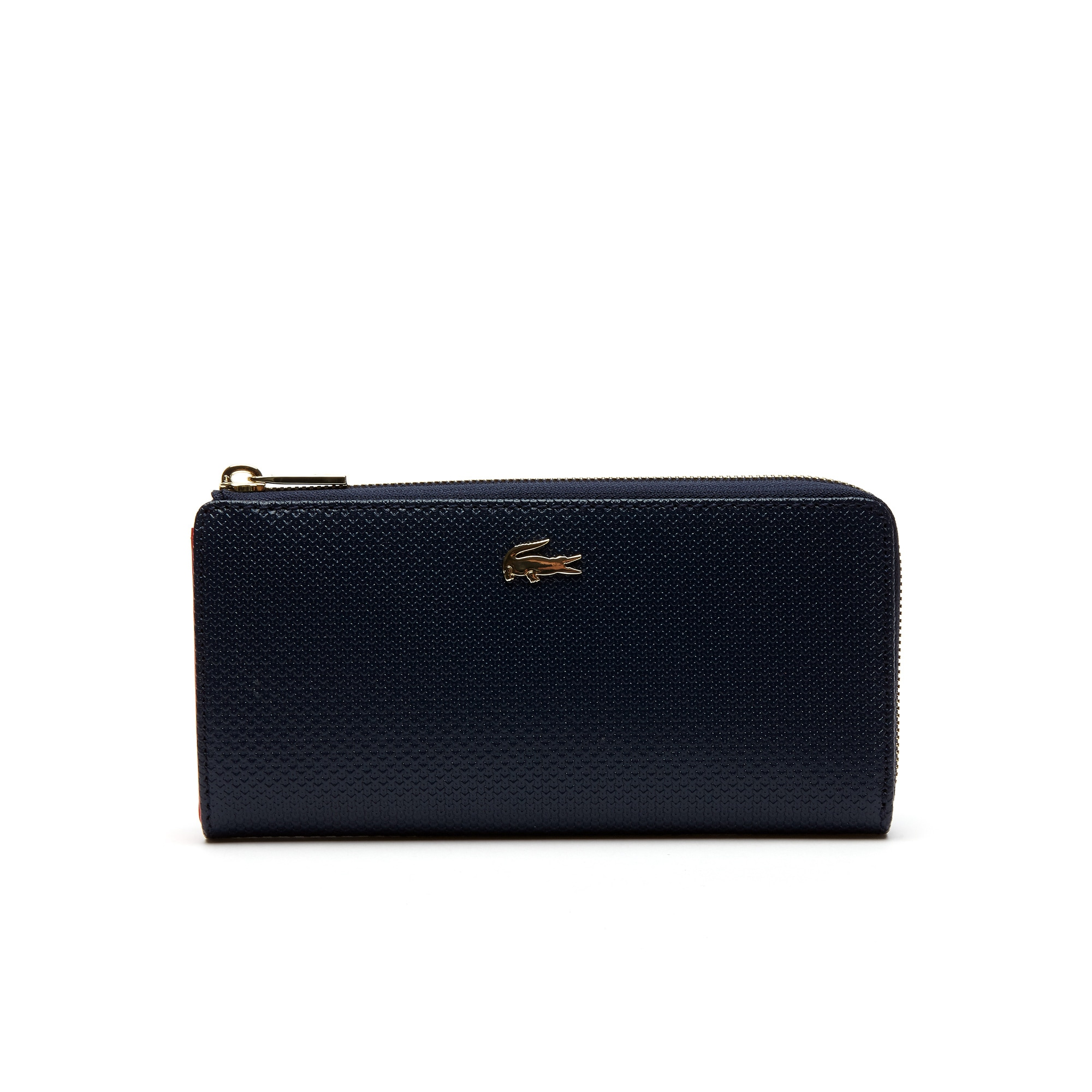 라코스테 Lacoste Womens Chantaco Pique Leather 8 Card Zip Wallet,peacoat