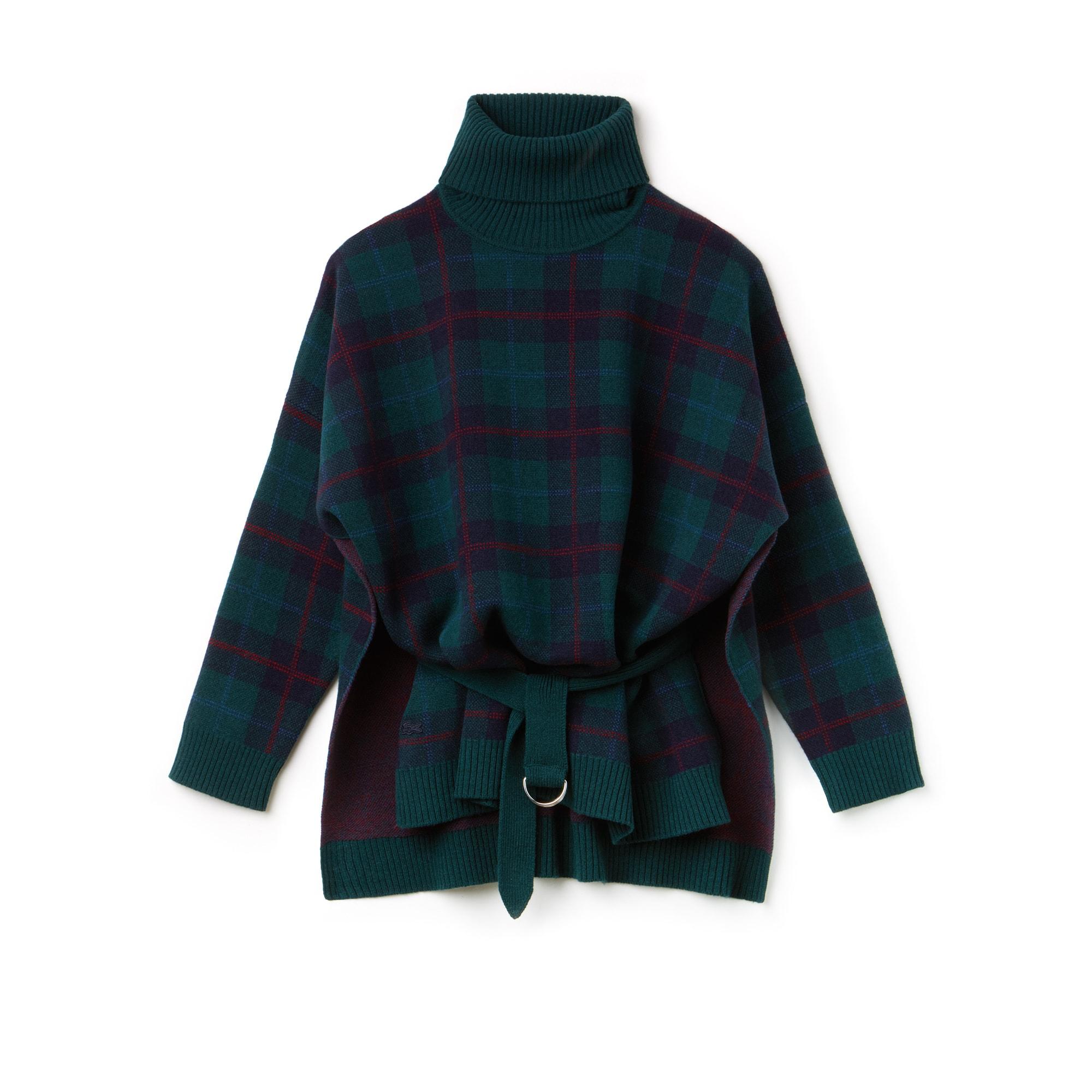 Women's Stand-Up Neck Tartan Check Print Wool Jacquard Sweater