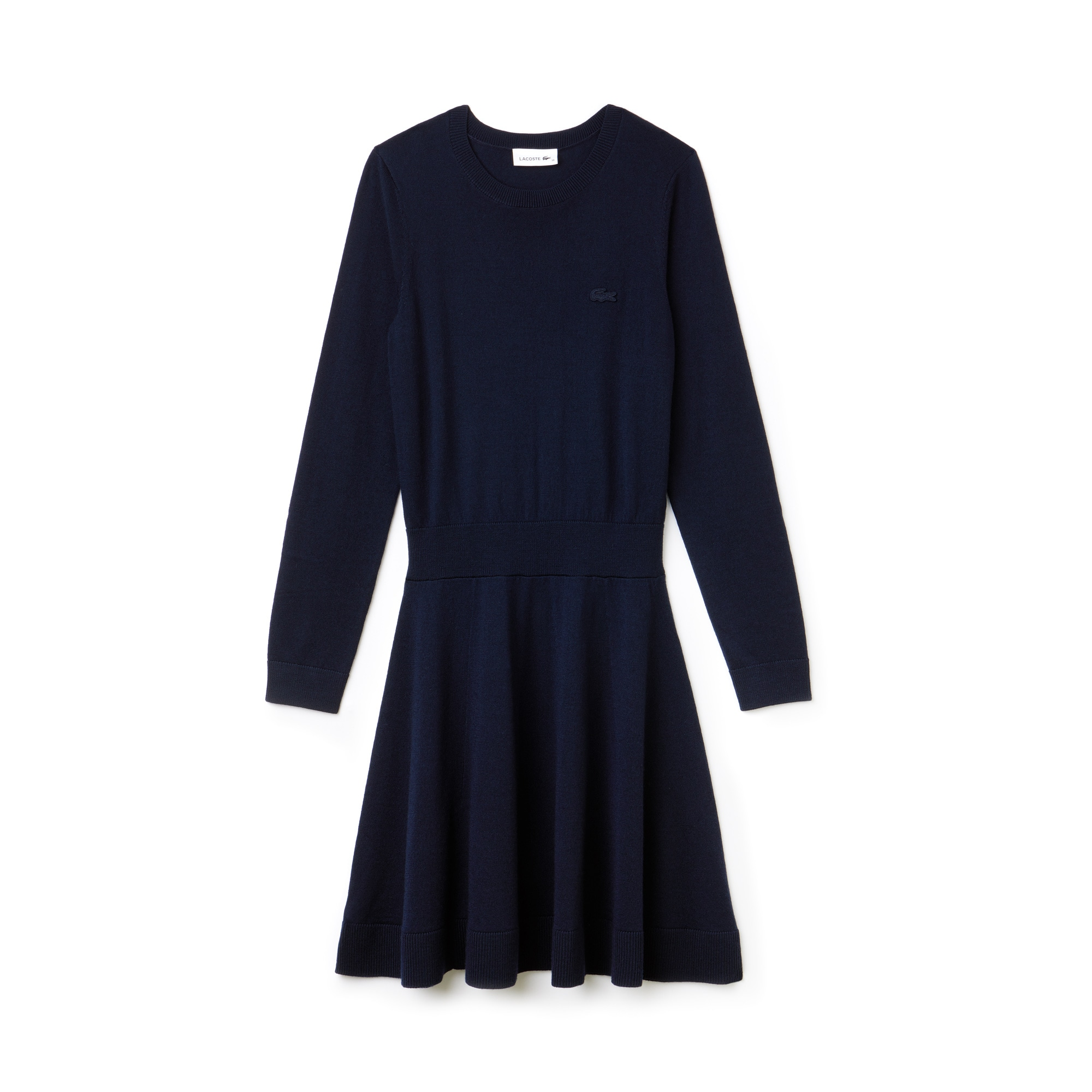 라코스테 Lacoste Womens Fitted Wool Jersey Sweater Dress,navy blue/navy blue