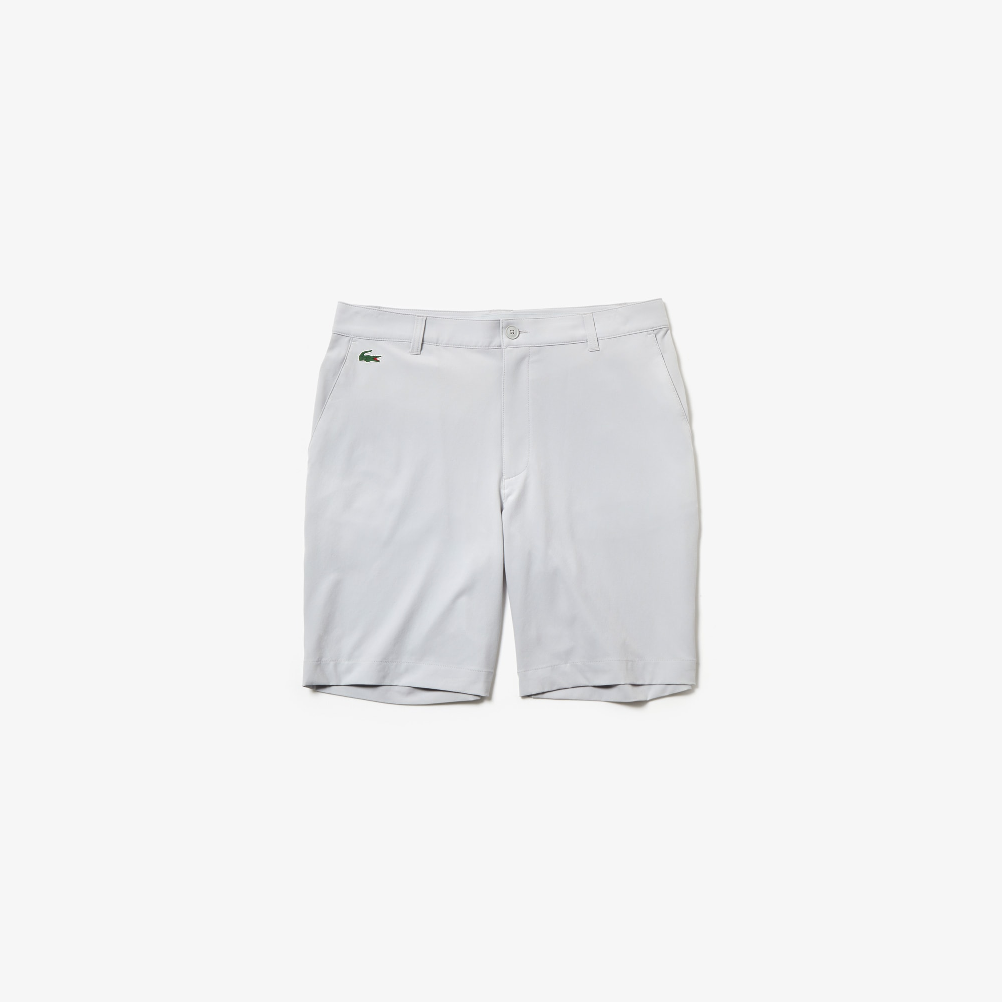 라코스테 Lacoste Mens SPORT Stretch Taffeta Technical Golf Bermuda Shorts,light grey
