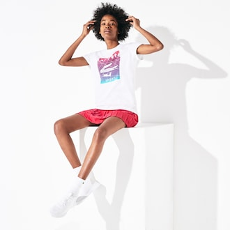 라코스테 우먼 스포츠 테니스 티셔츠 Lacoste Womens SPORT Graphic Print Cotton T-shirt,White / Fushia Pink / Turquoise - 3RK (Selected co