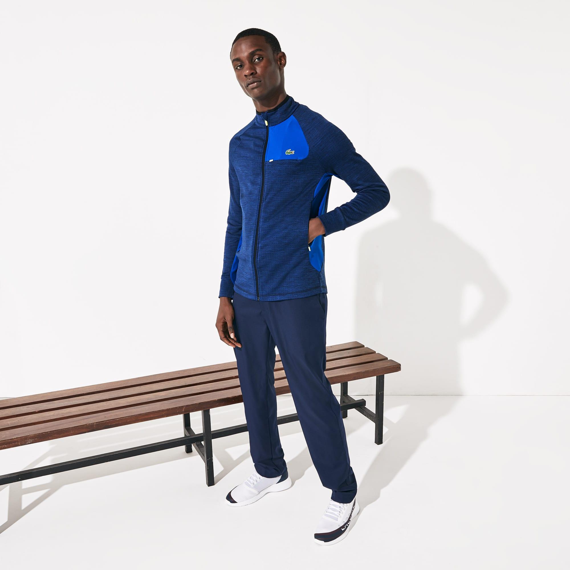라코스테 스포츠 Lacoste Mens SPORT Breathable UV Protection Zip Sweatshirt,Blue Chine / Blue / Flashy Yellow / Navy Blue - 4B