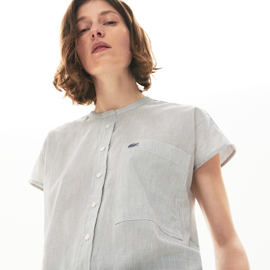 Women's Striped Linen And Cotton Blend Shirt