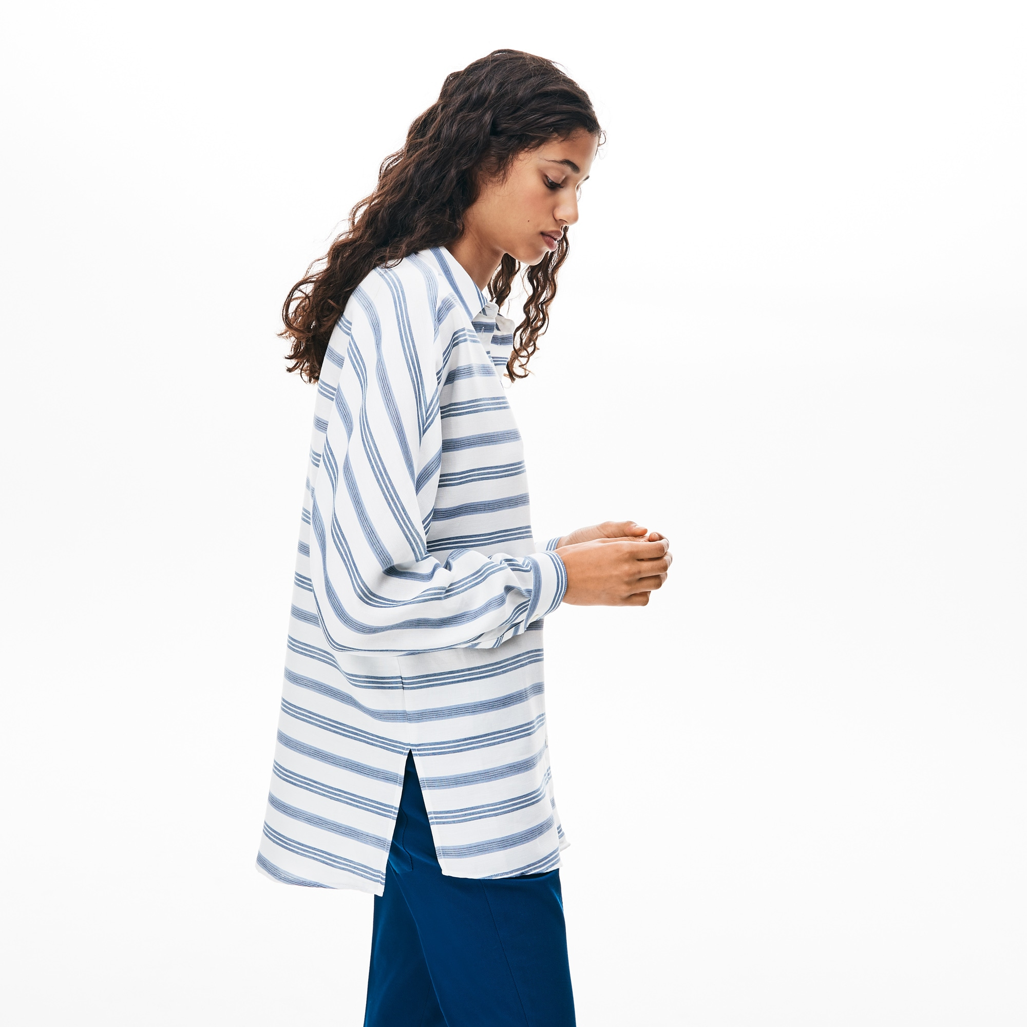 Women's Loose Fit Striped Lightweight Cotton Shirt