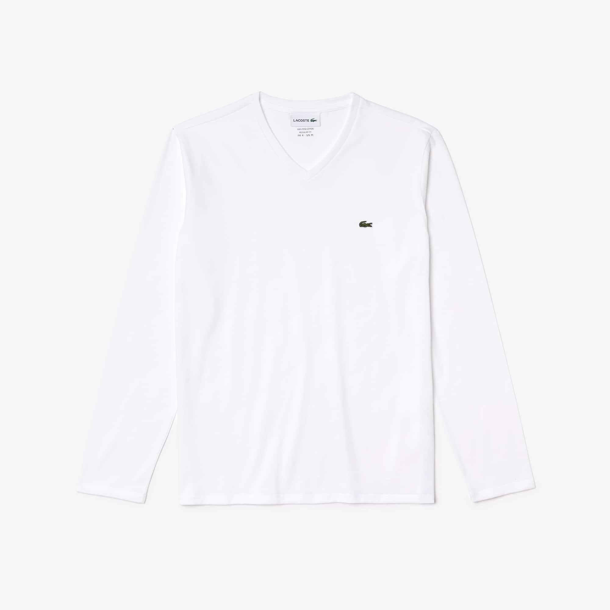라코스테 V넥 긴팔 티셔츠 Lacoste Mens V-neck Pima Cotton Jersey T-shirt,white