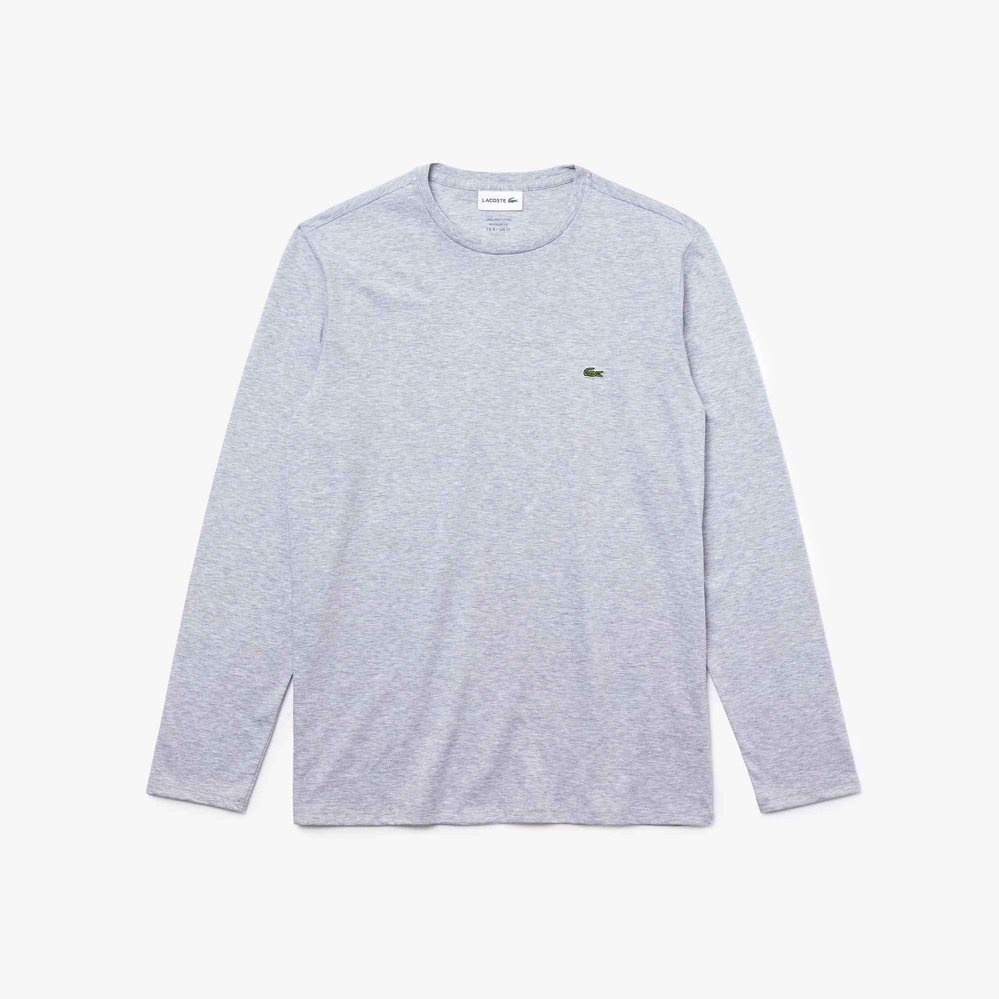 라코스테 긴팔 티셔츠 Lacoste Mens Crew Neck Pima Cotton Jersey T-shirt,silver grey chine