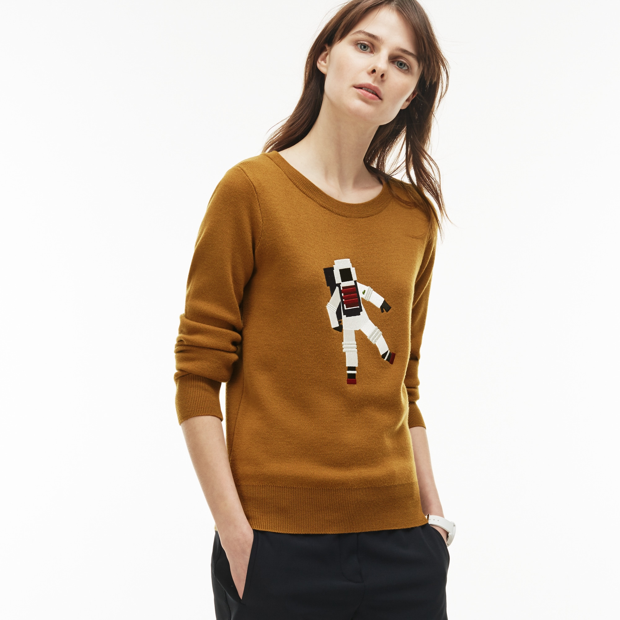 Women's Crew Neck Astronaut Embroidery Wool Interlock Sweater