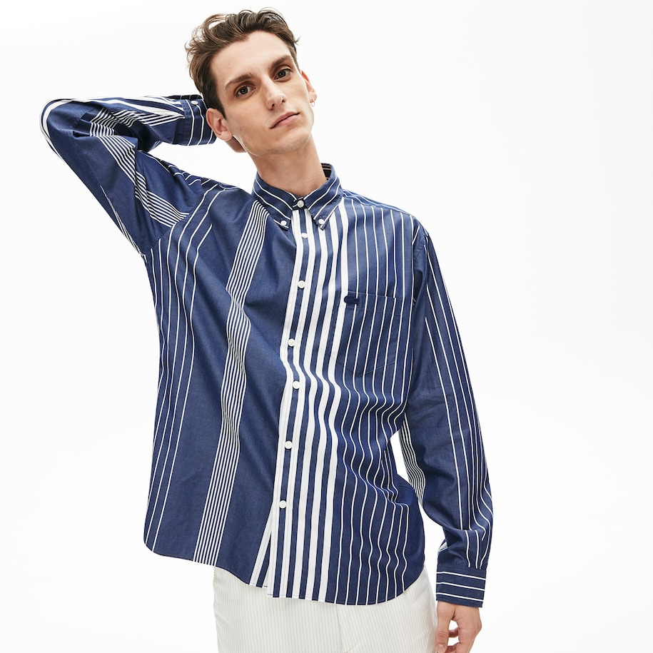 Men's Variegated-Stripe Relaxed Cotton Shirt
