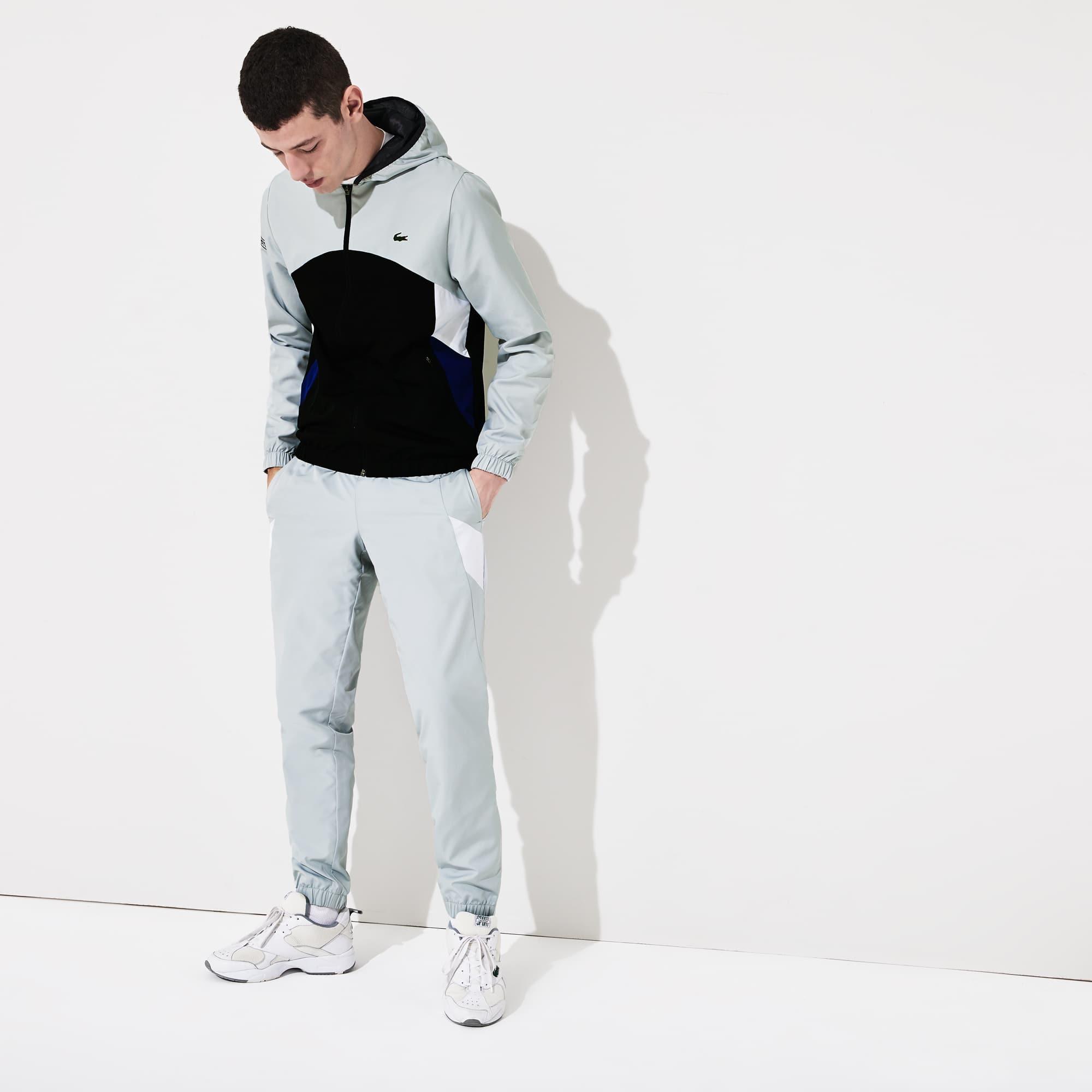 라코스테 Lacoste Men's SPORT Hooded Colorblock Tracksuit,Light Grey / Black / Blue / White / Black - RUB (S
