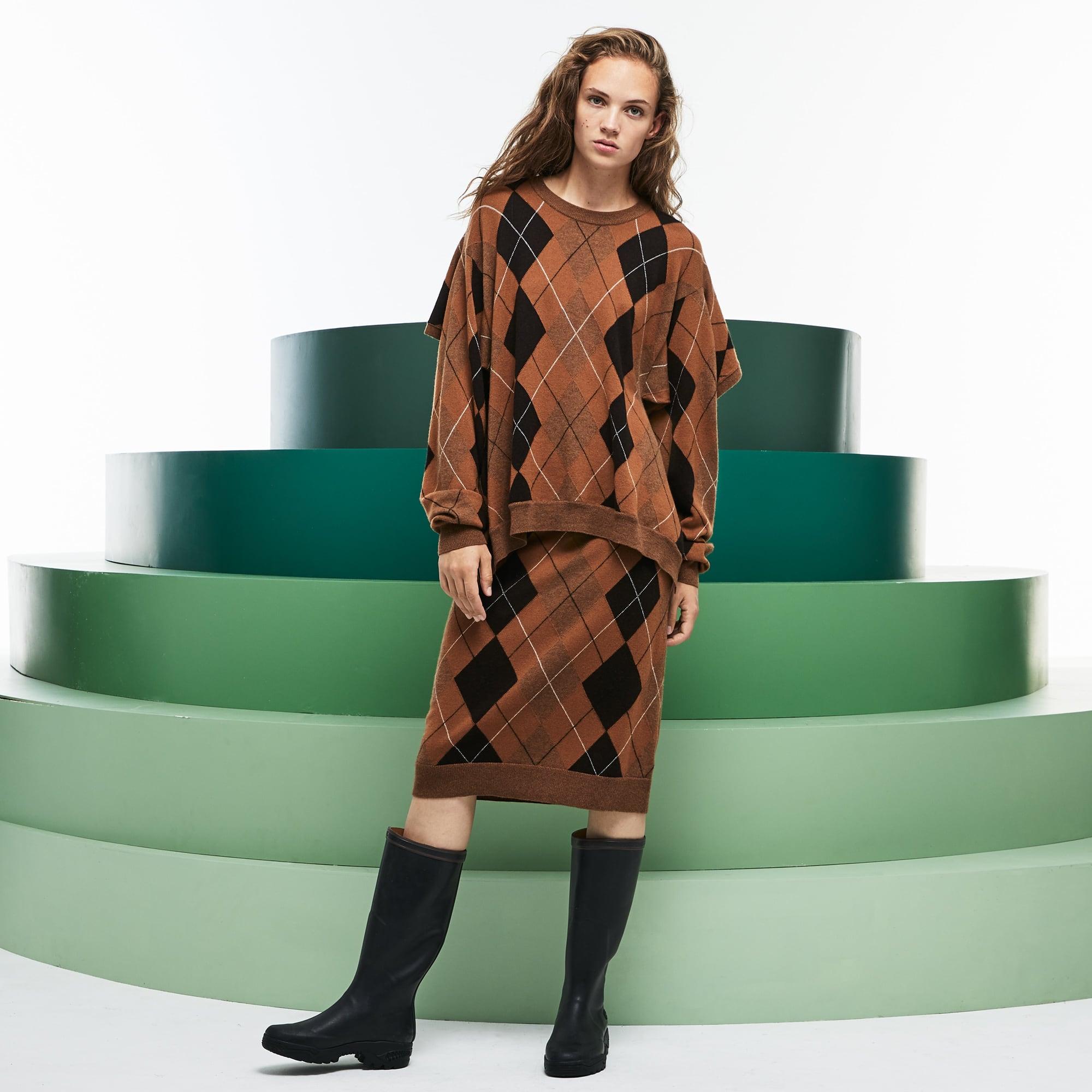 Women's Fashion Show Argyle Wool Jacquard Asymmetrical Skirt