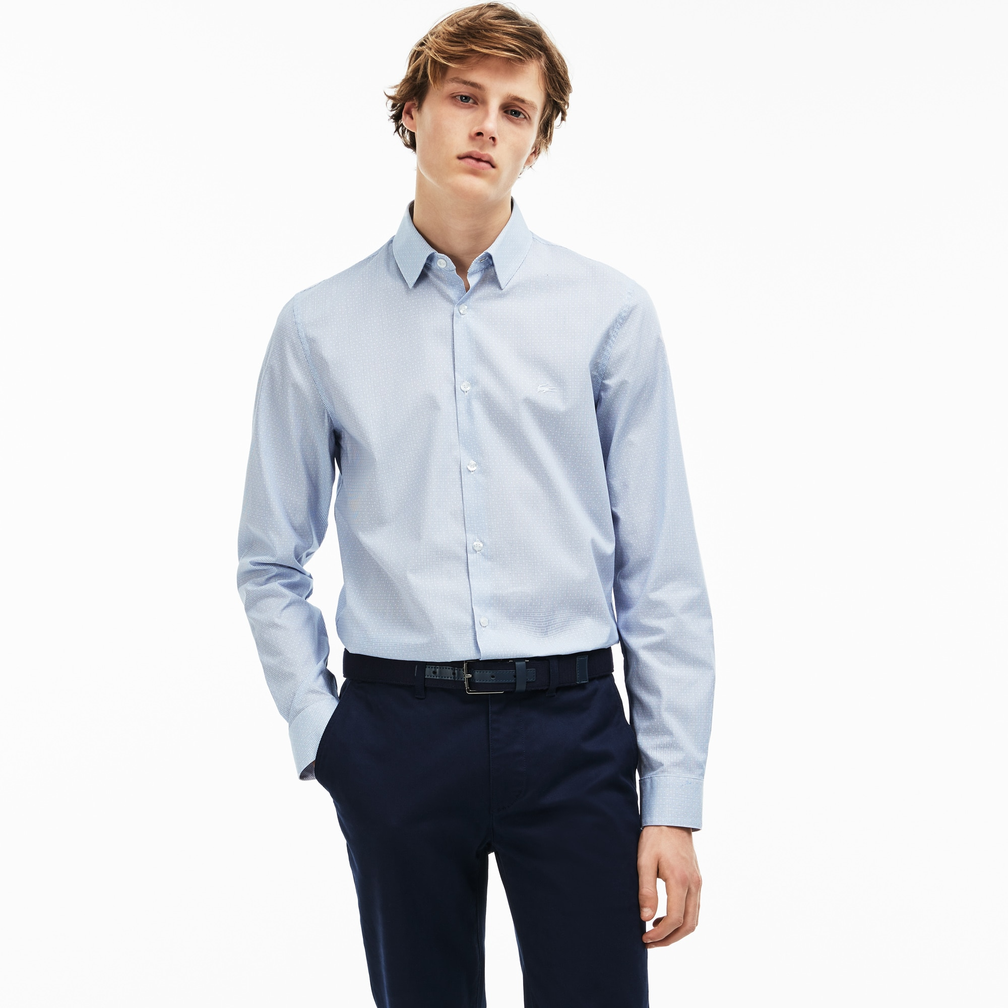 Men's Slim Fit Geometric Print Jacquard Poplin Shirt