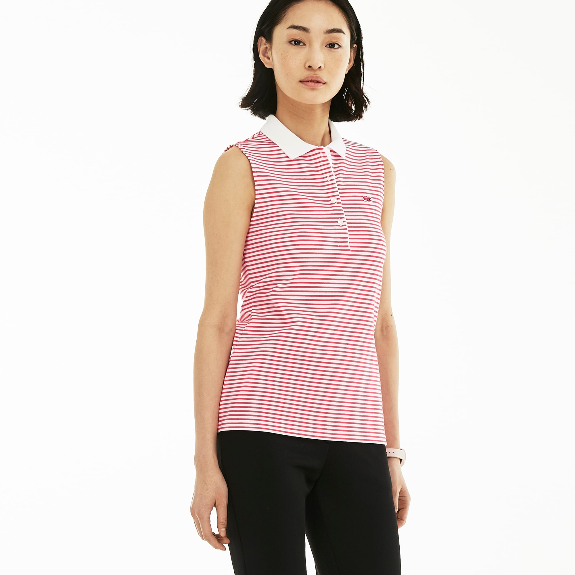 Women's Slim Fit Stretch Striped Petit Piqué Polo Shirt