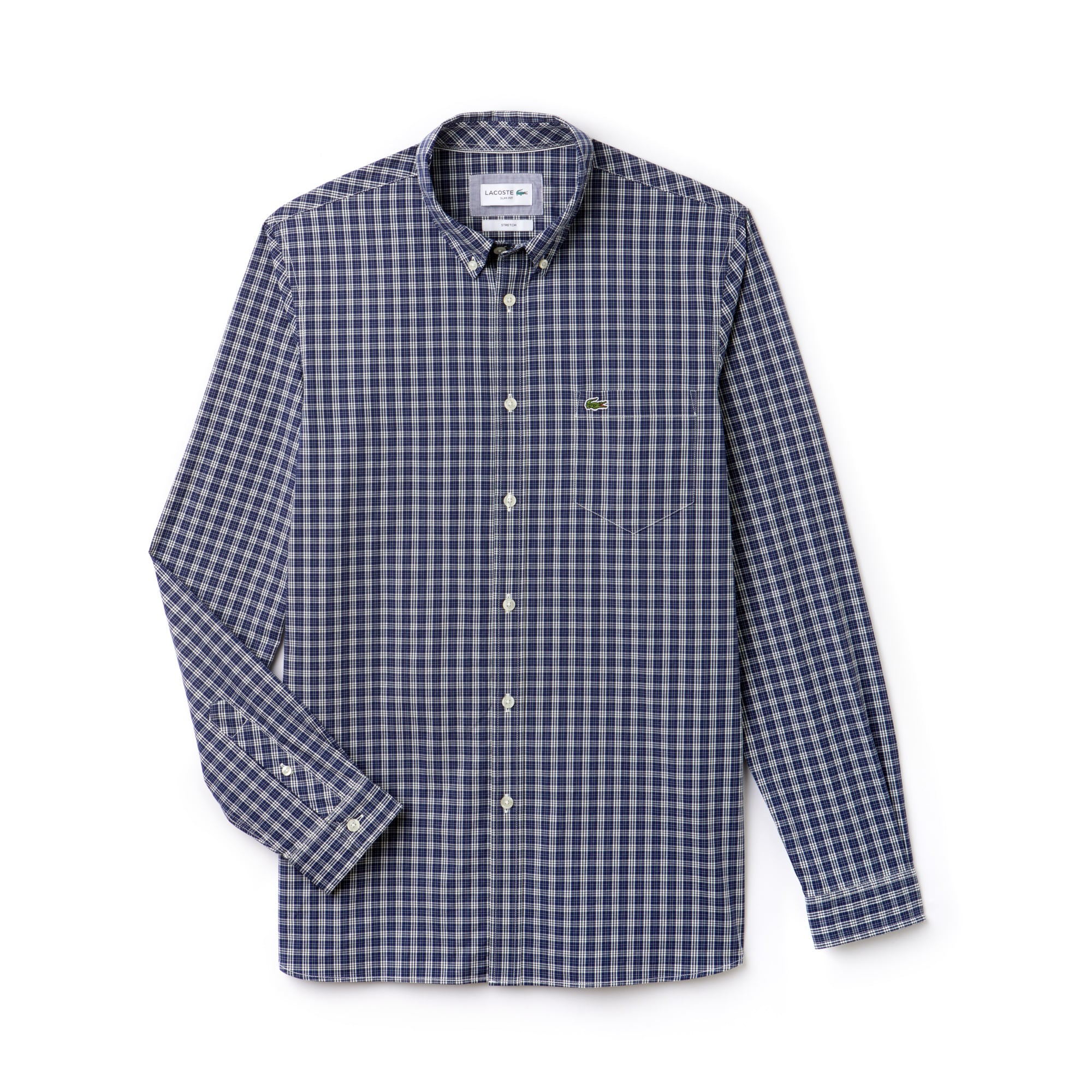 라코스테 Lacoste Mens Slim Fit Colored Check Stretch Cotton Poplin Shirt,navy blue
