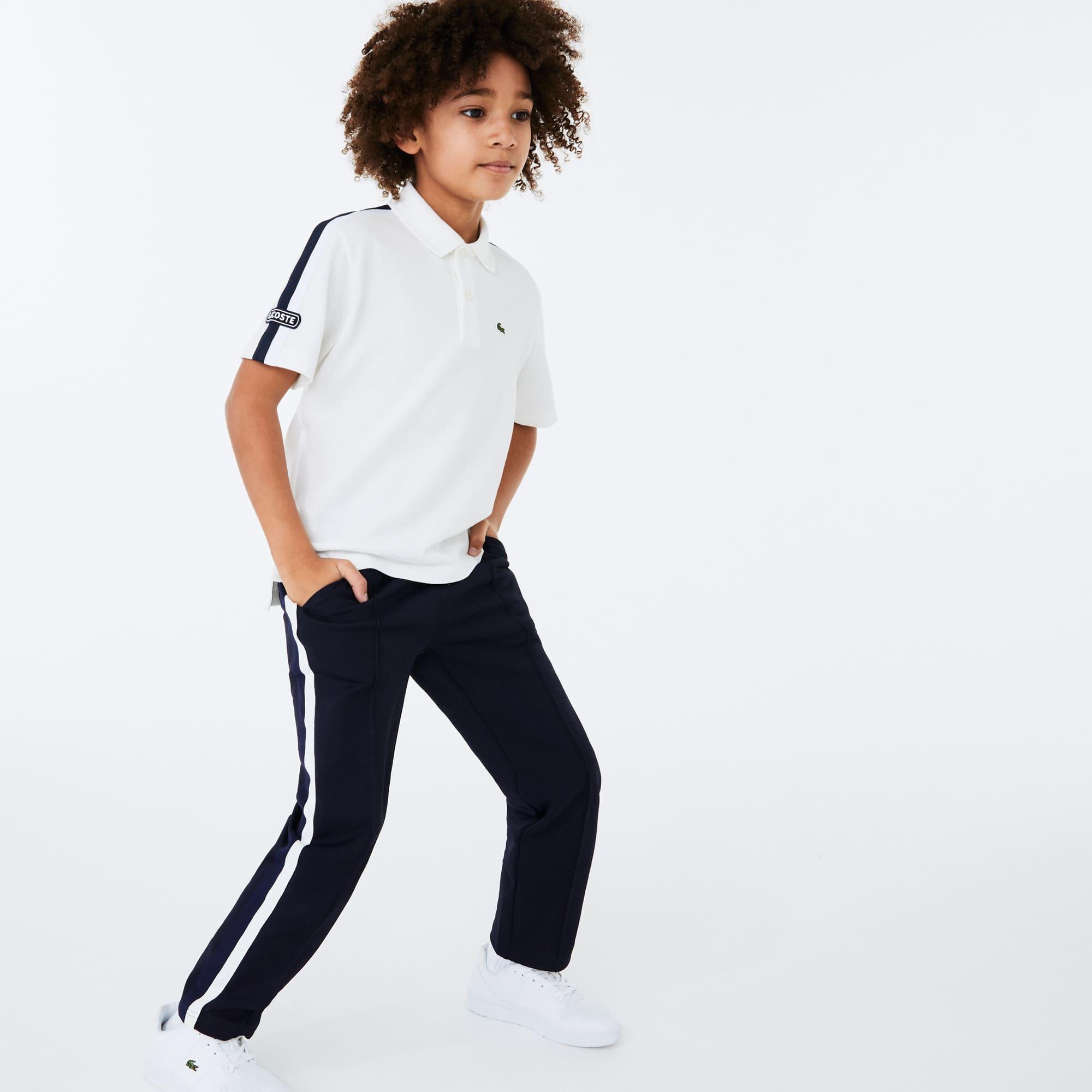 Boys 라코스테 Lacoste Badge Cotton Pique Polo Shirt,White / Navy Blue • KXQ