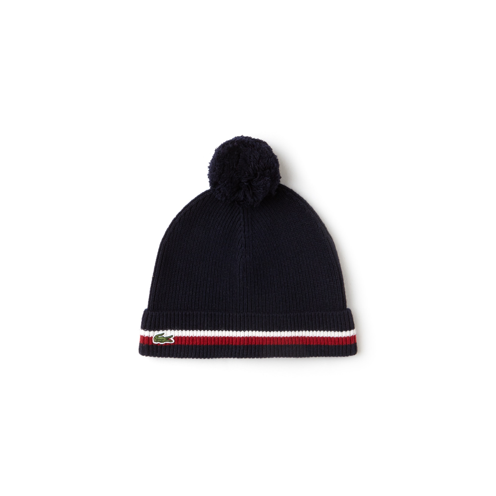 Boys' Contrast Edging Ribbed Wool And Cotton Pompom Beanie