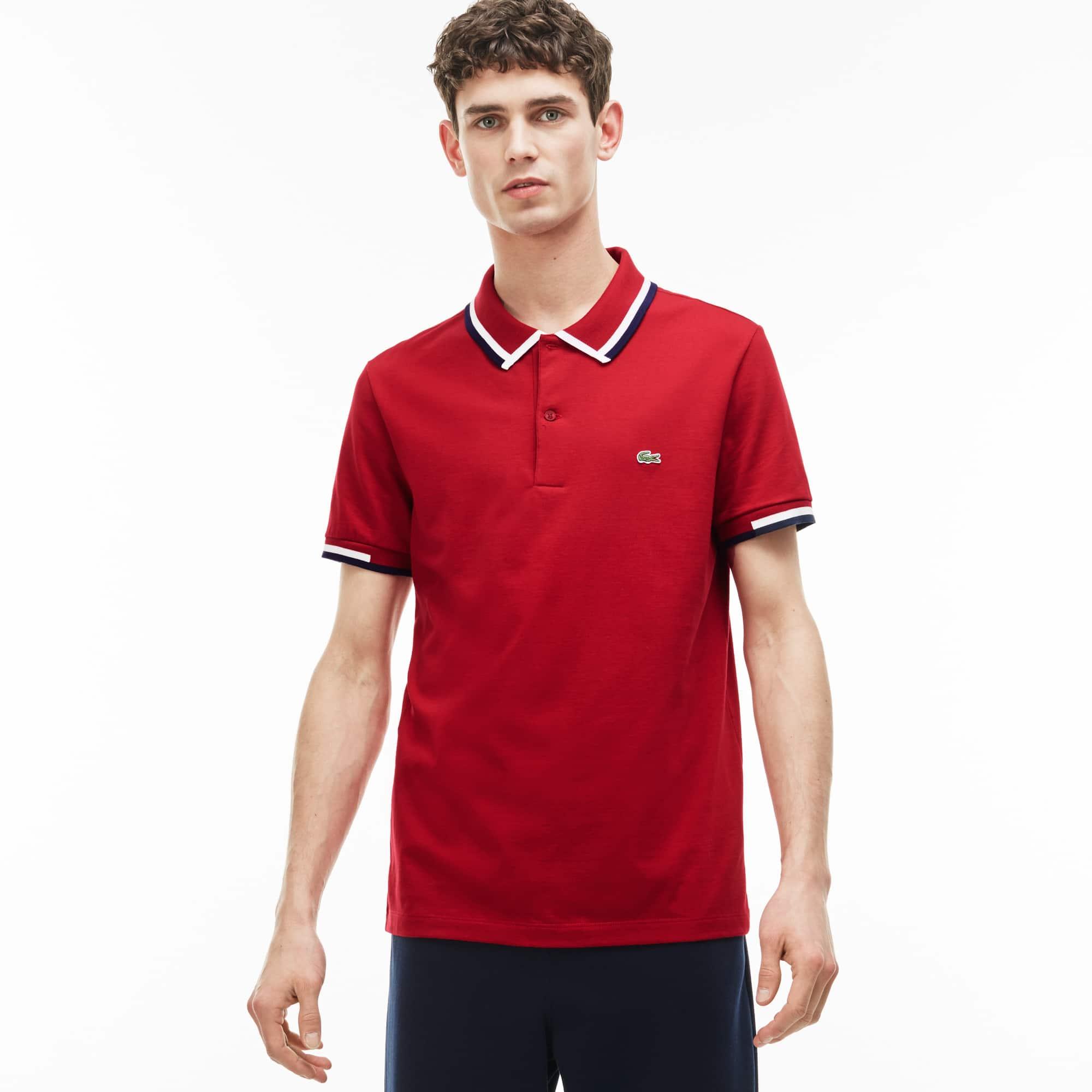 Men's Lacoste Regular Fit Tricolor Neck Jersey Polo