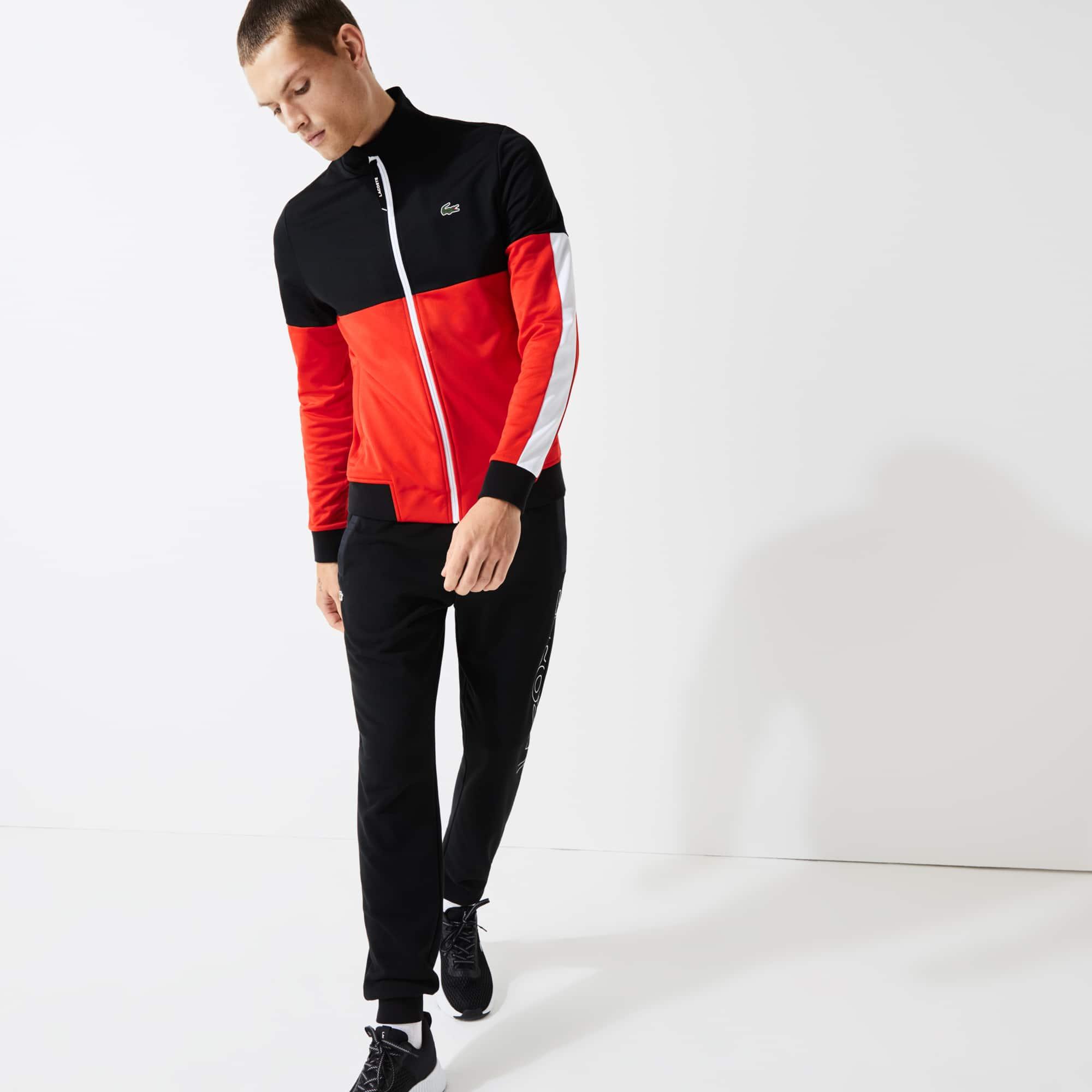 라코스테 스포츠 Lacoste Mens SPORT Colorblock Resistant Pique Zip Sweatshirt,Black / Red / White - G54