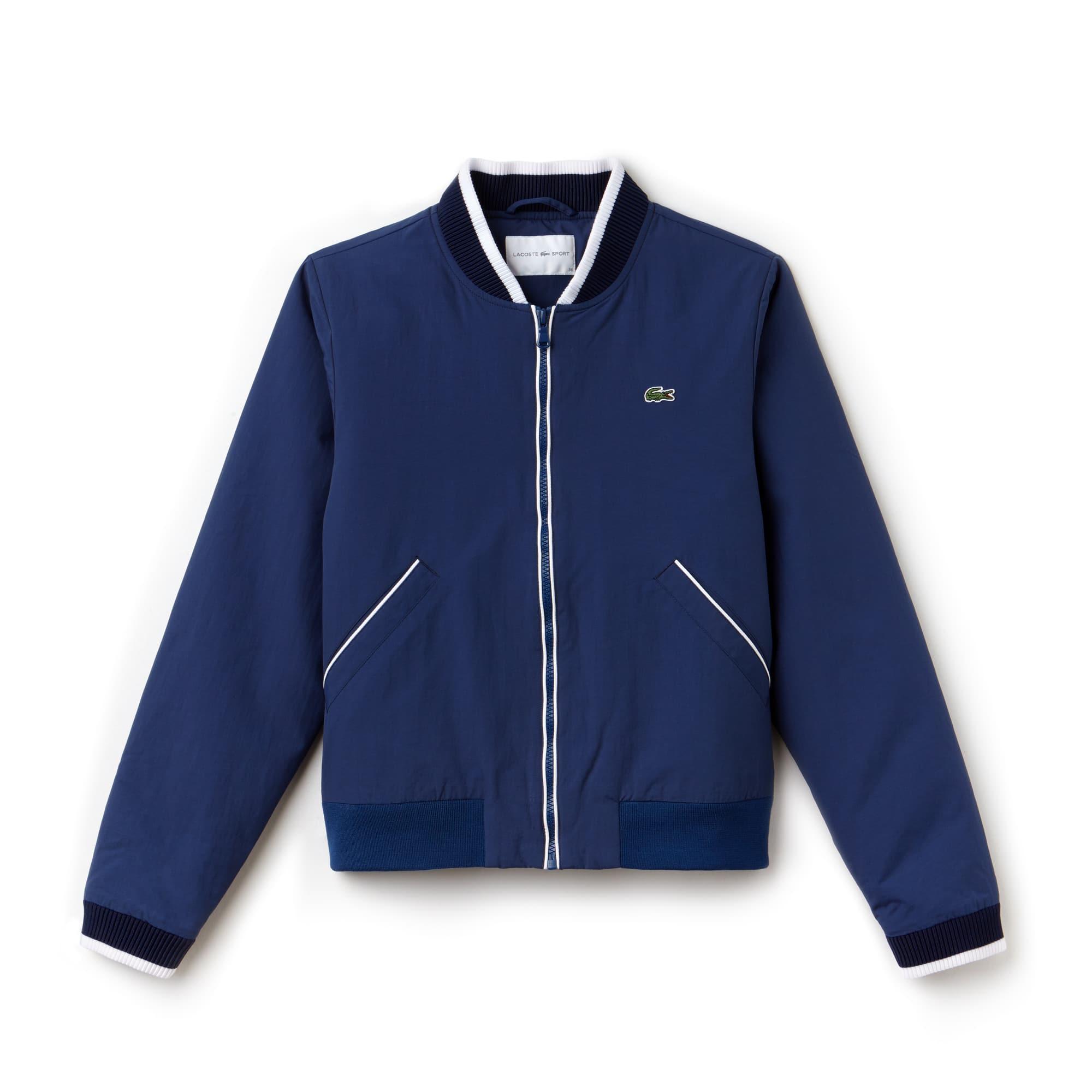 라코스테 스포츠 붐버 자켓 Lacoste Womens SPORT Water-Resistant Zip Tennis Bomber Jacket,INKWELL/WHITE-NAVY BLUE