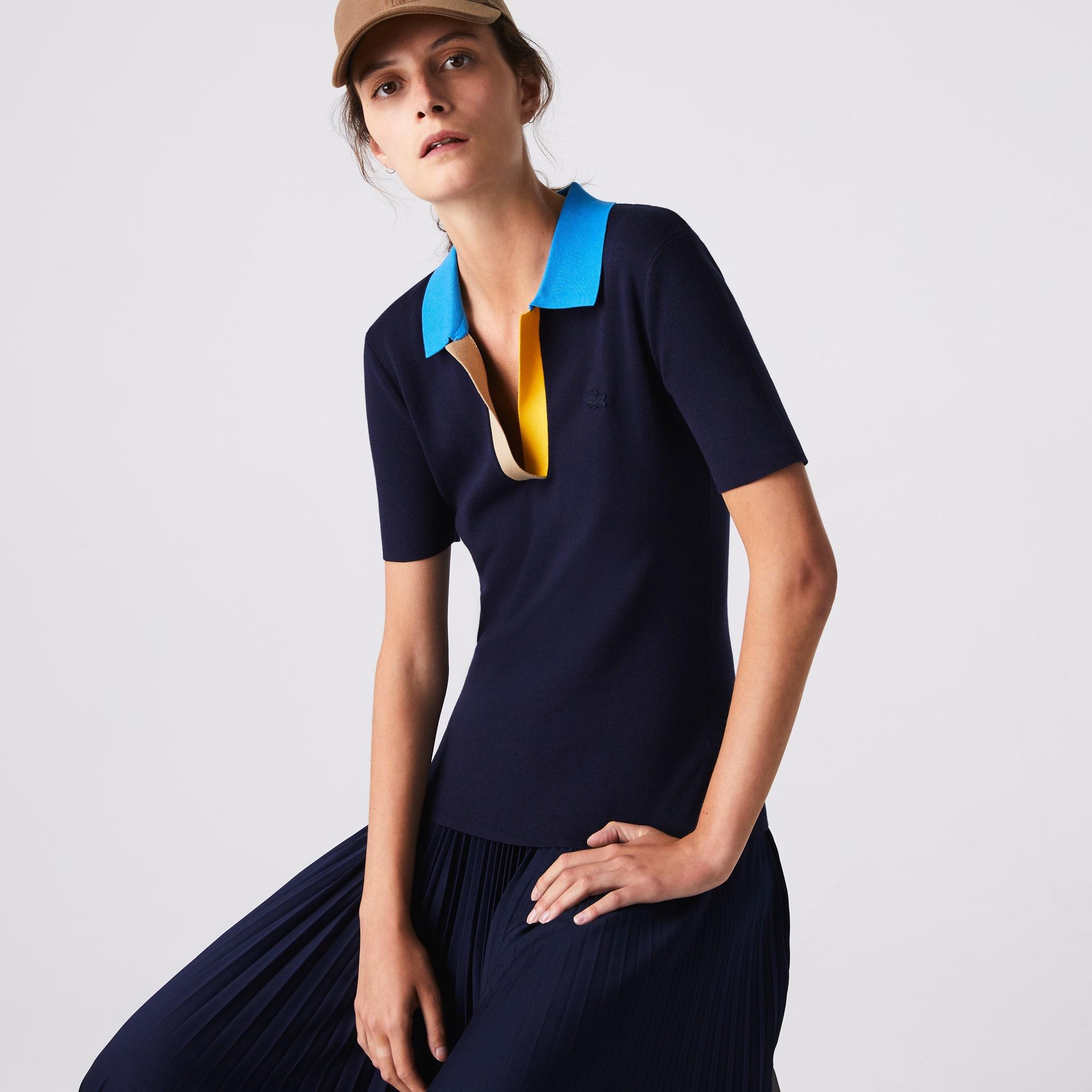 라코스테 Lacoste Womens Polo Collar Two-Tone Cotton Sweater