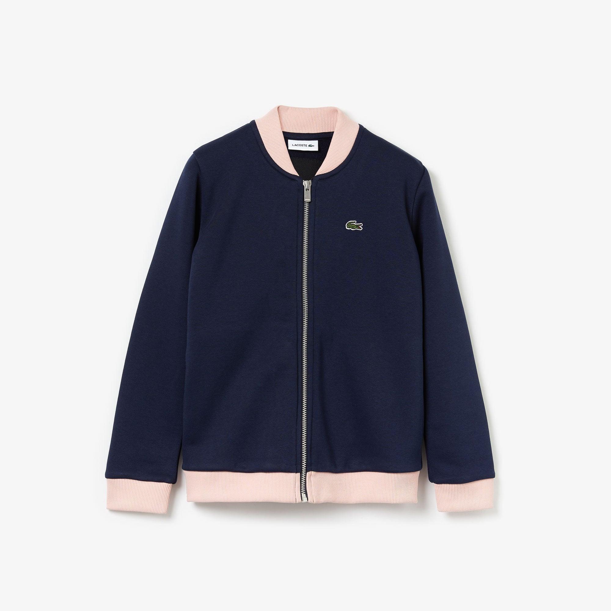 라코스테 Lacoste Girls' Oversize Croc and Heart Full-Zip Bomber Jacket,Navy Blue / Light Pink / Red • KNC
