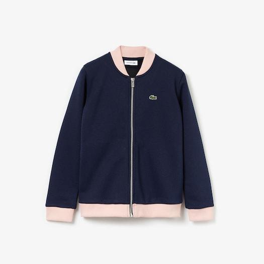 라코스테 걸즈 봄버 자켓 Lacoste Girls' Oversize Croc and Heart Full-Zip Bomber Jacket
