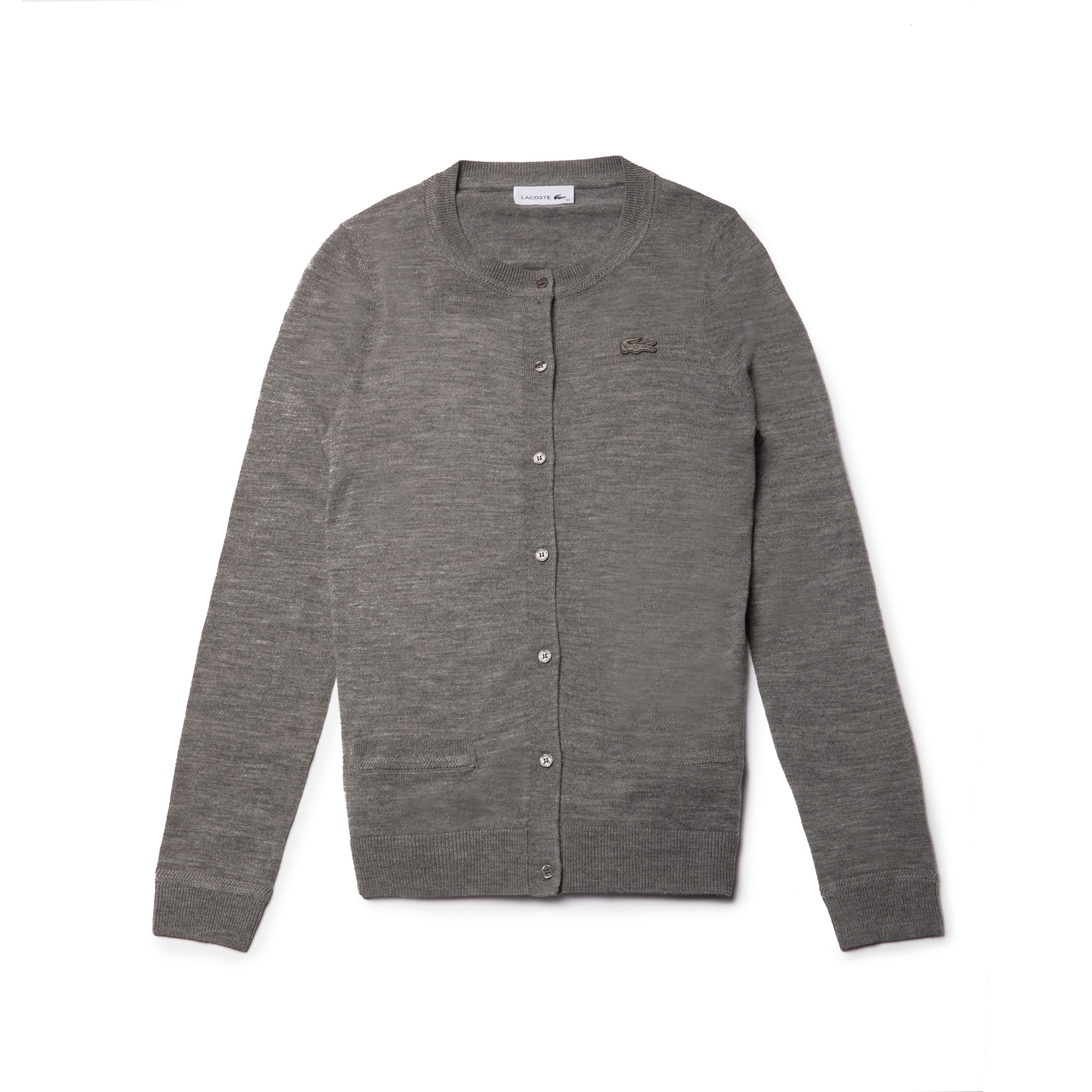 Women's Crew Neck Wool Jersey Cardigan