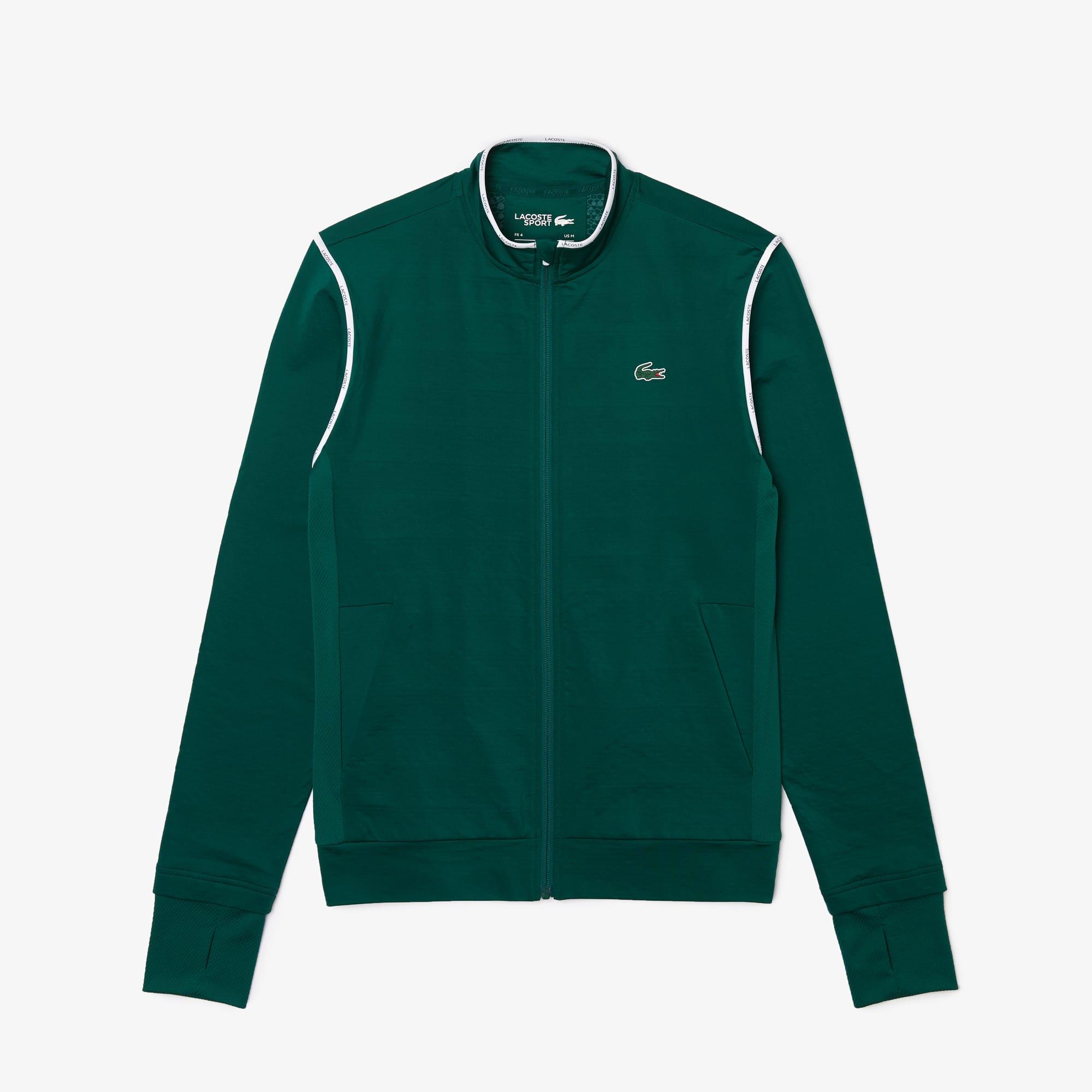 라코스테 맨 스포츠 집업 맨투맨 Lacoste Men's SPORT Thermo-Regulating Zip Sweatshirt,Green / White / Navy Blue 22Y