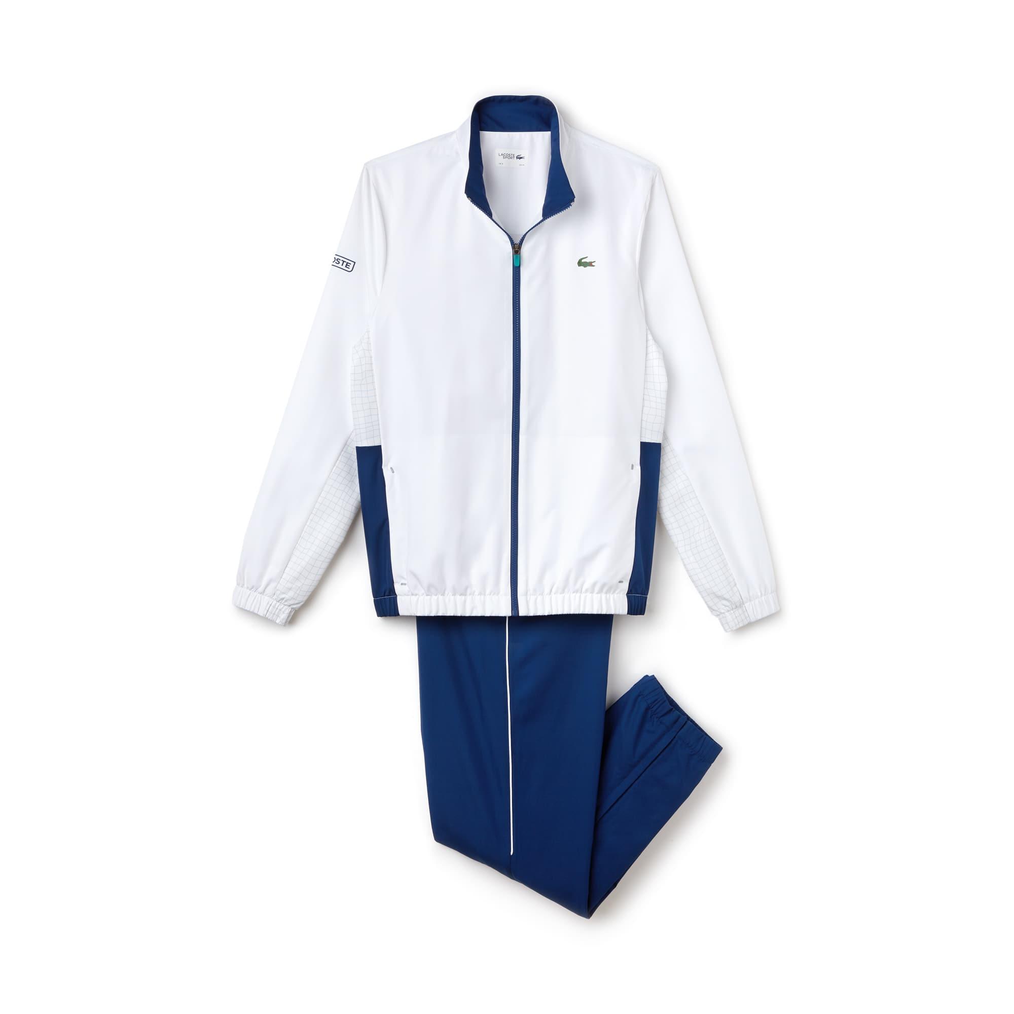 라코스테 Lacoste Mens SPORT Piped Taffeta Tennis Tracksuit,white / navy blue / grey / green