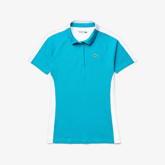 라코스테 우먼 골프 투톤 스트레치 폴로 셔츠 Lacoste Womens SPORT Two-Tone Stretch Cotton Pique Golf Polo Shirt,Turquoise / White - YM1