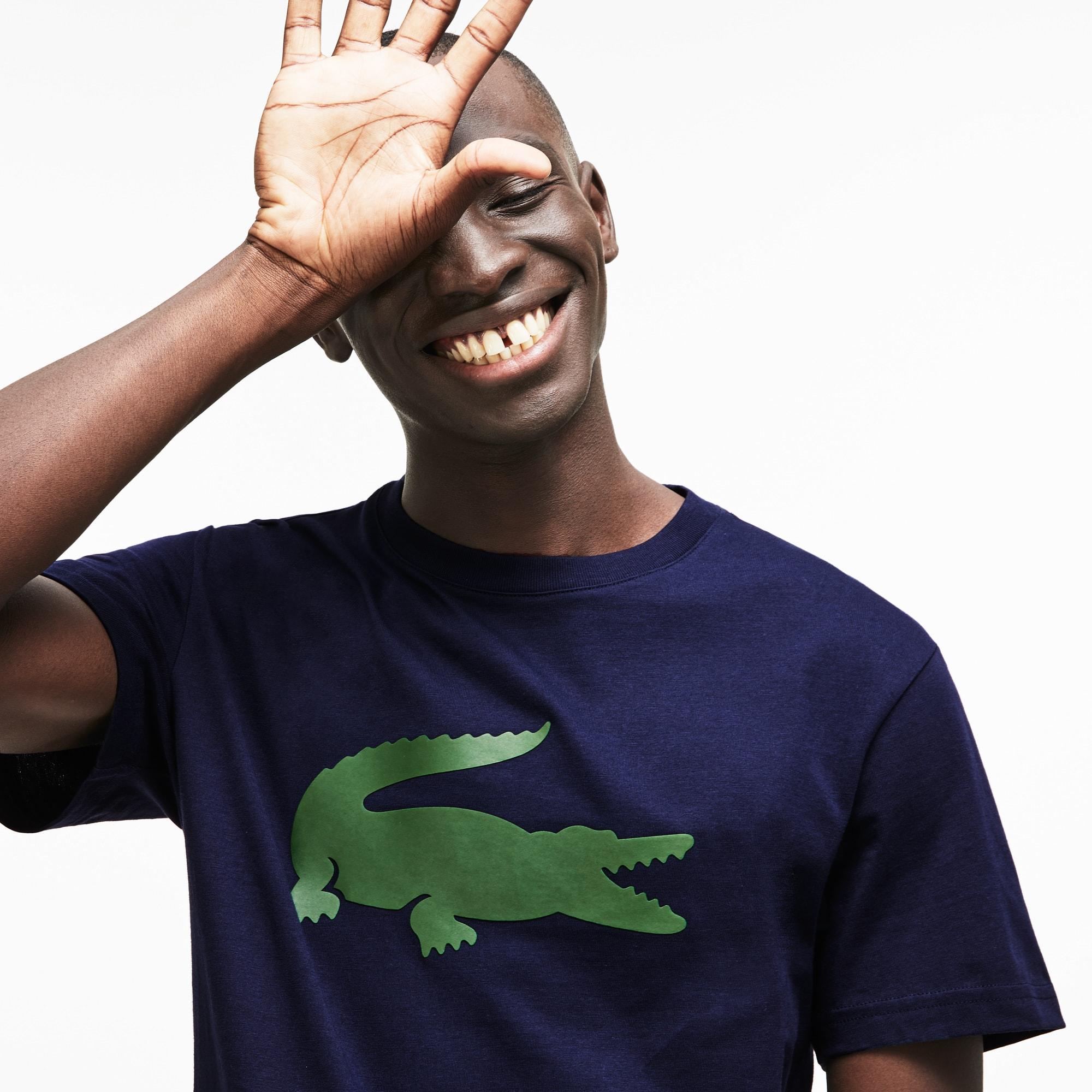 Men's Crew Neck Oversized Crocodile Cotton Jersey T-shirt