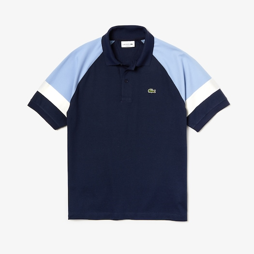 라코스테 Lacoste Mens L.12.12 Raglan Sleeved Pique Polo,Navy Blue / Light Blue / White - 88G (Selected col