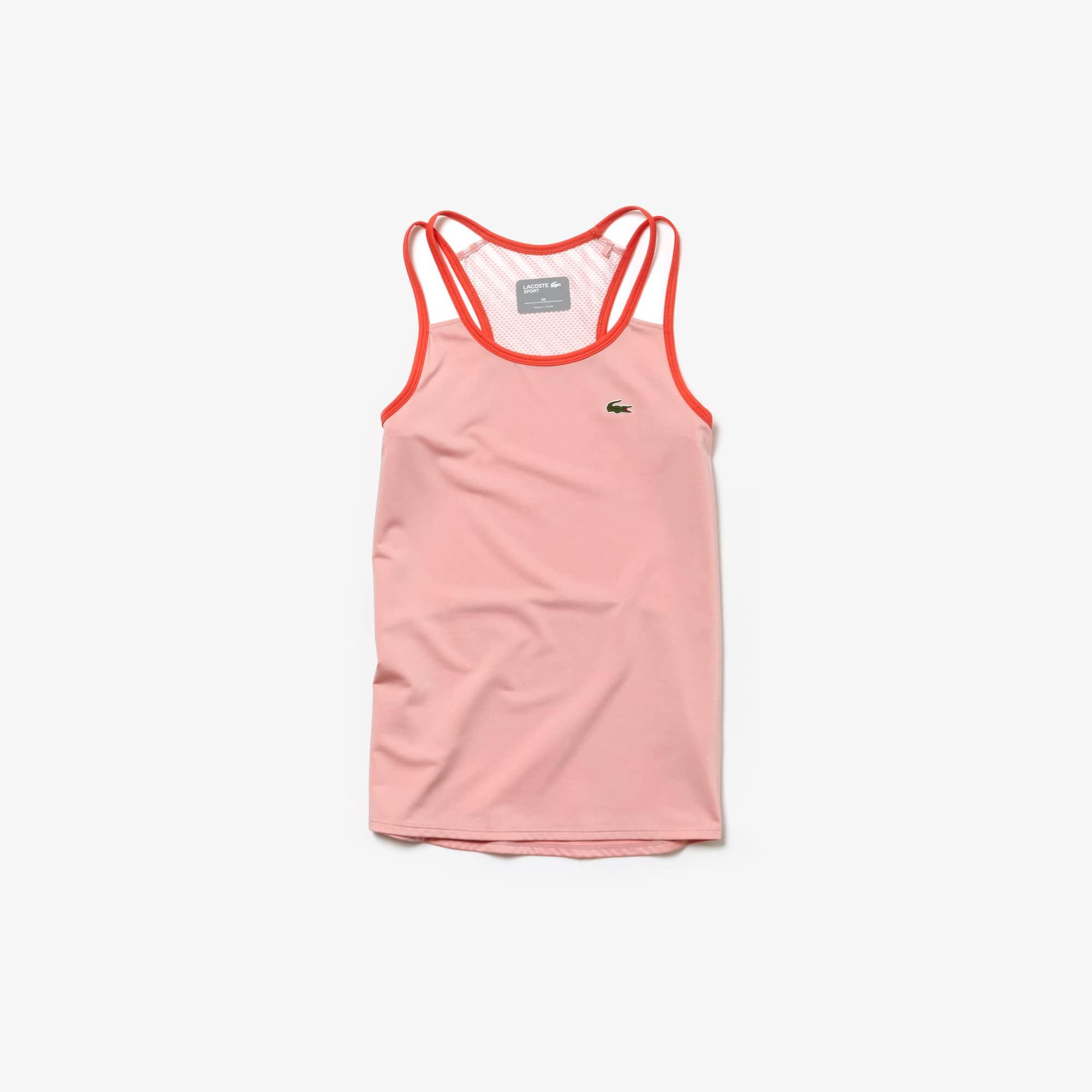 라코스테 Lacoste Womens SPORT Tech Jersey Racerback Tennis Tank Top,pink / red / white