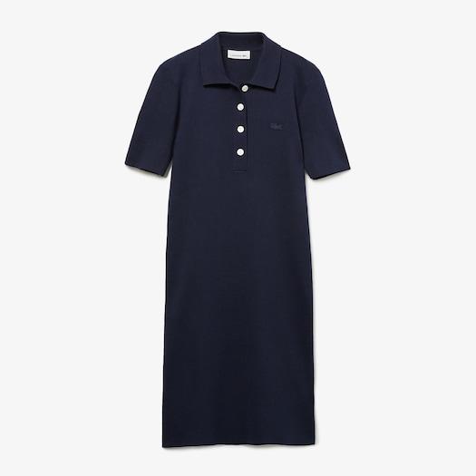 라코스테 니트 폴로 원피스 - 네이비 Lacoste Womens Knit Polo Dress
