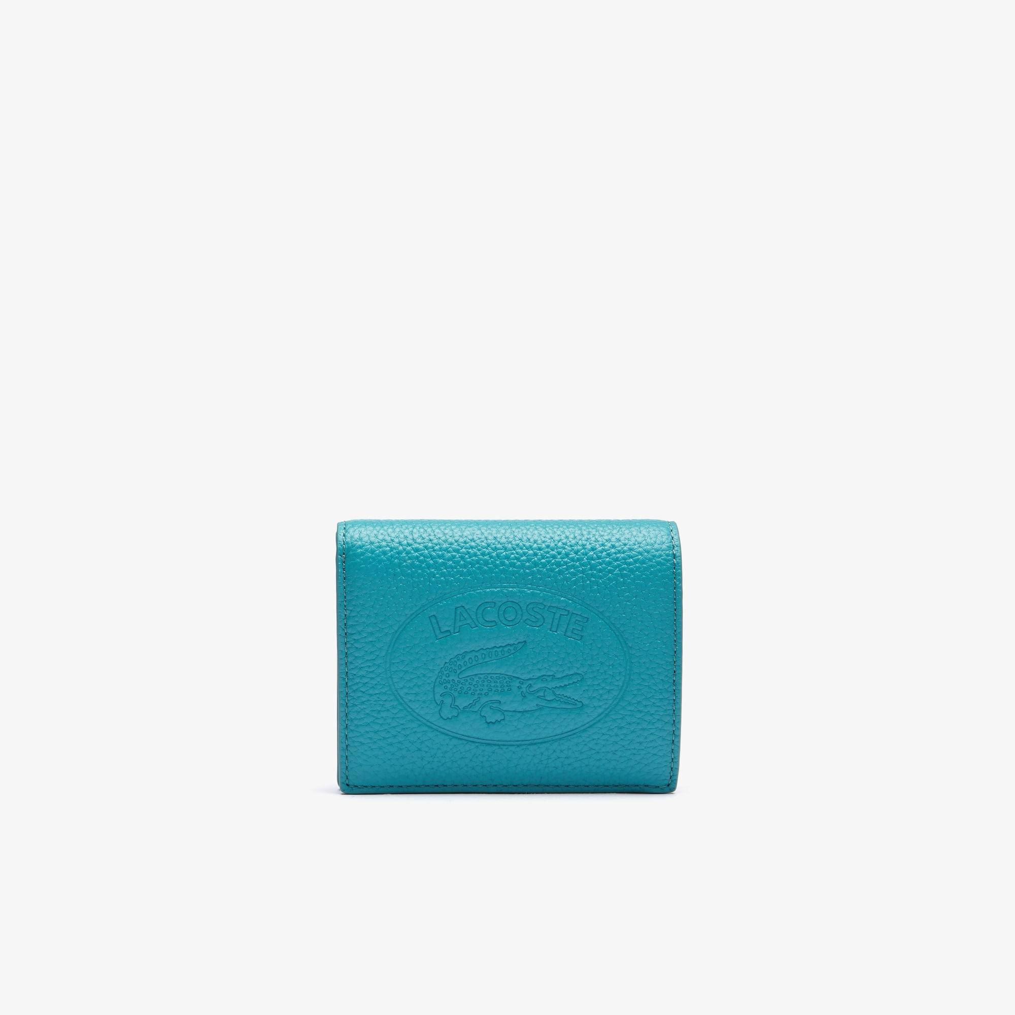 라코스테 크로코 크루 동전 반지갑, 그레인 가죽 - 10 컬러 Lacoste Women's Croco Crew Grained Leather Bi-fold Wallet with Coin Purse