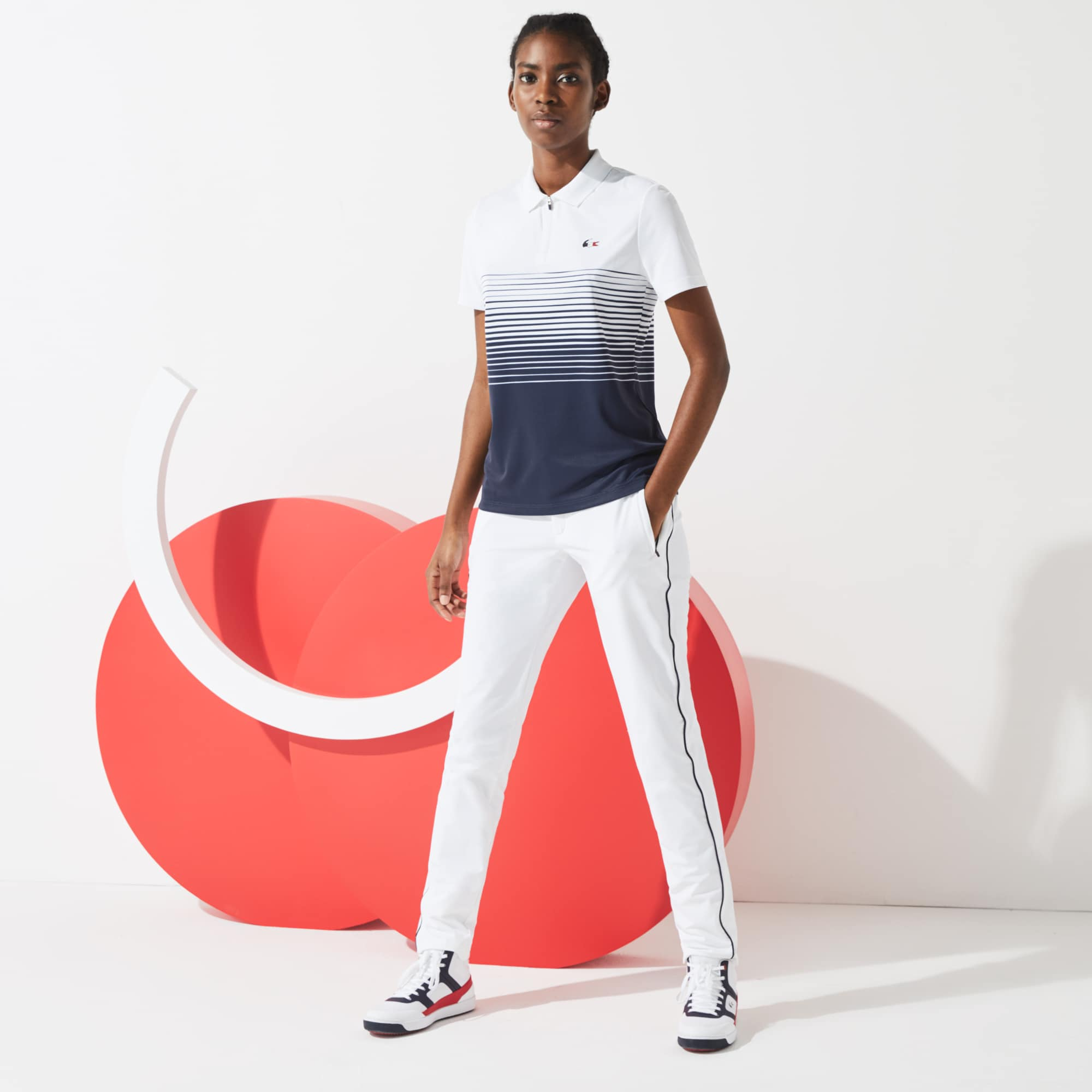 Lacoste Womens SPORT French Sporting Spirit Edition Zip Polo Shirt