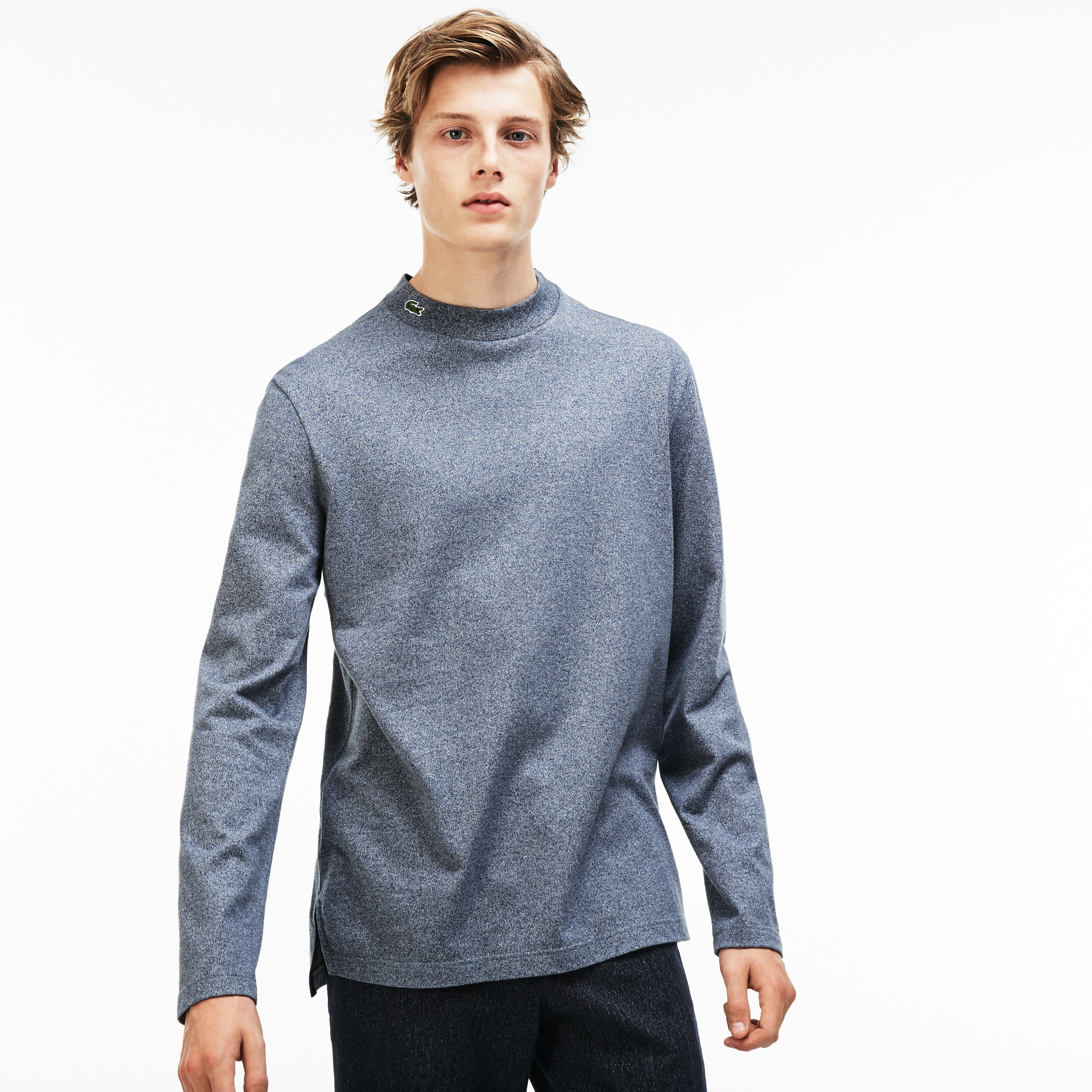 Men's Stand-Up Collar Cotton Jersey T-shirt   LACOSTE
