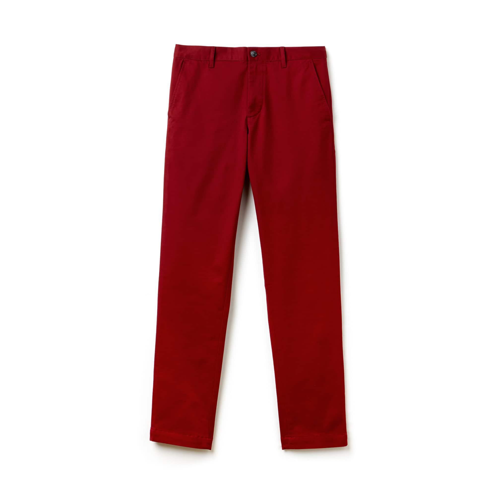 라코스테 Lacoste Mens Slim Fit Stretch Gabardine Chino Pants,bordeaux