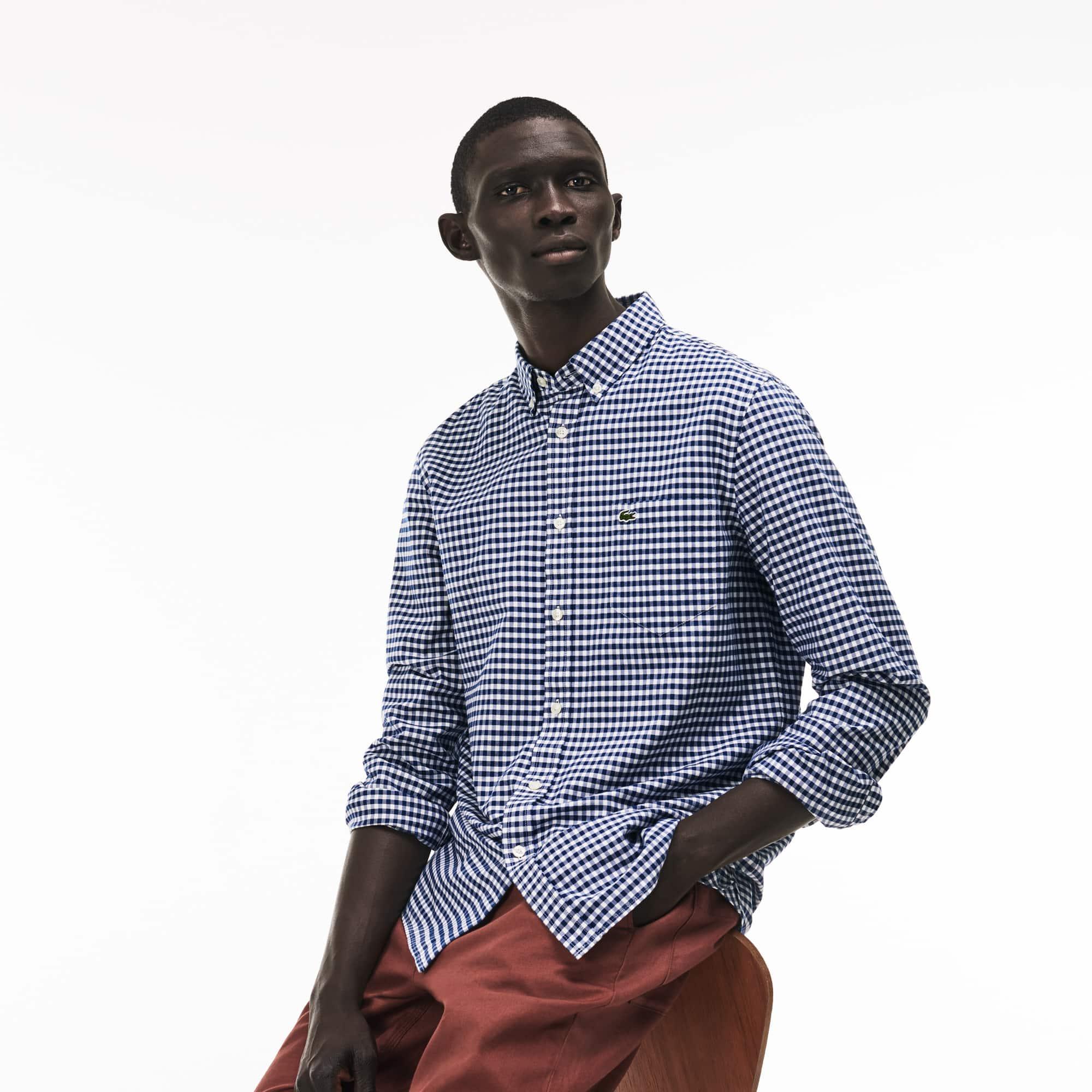 Men's Regular Fit Mini Check Cotton Oxford Shirt