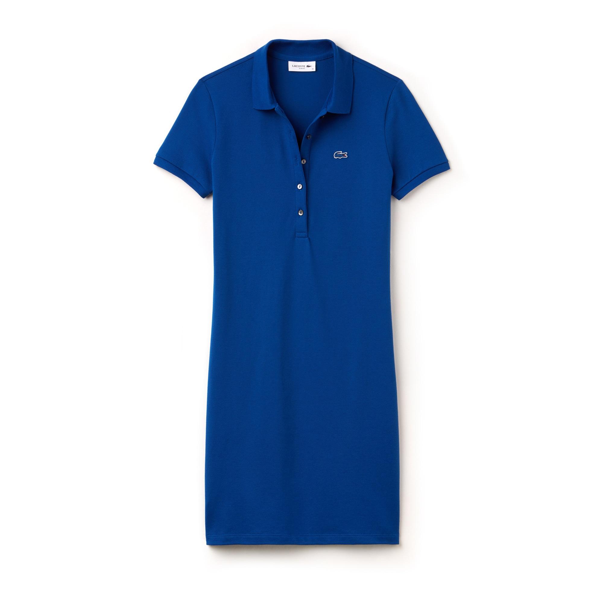라코스테 Lacoste Womens Stretch Cotton Mini Pique Polo Dress,electric