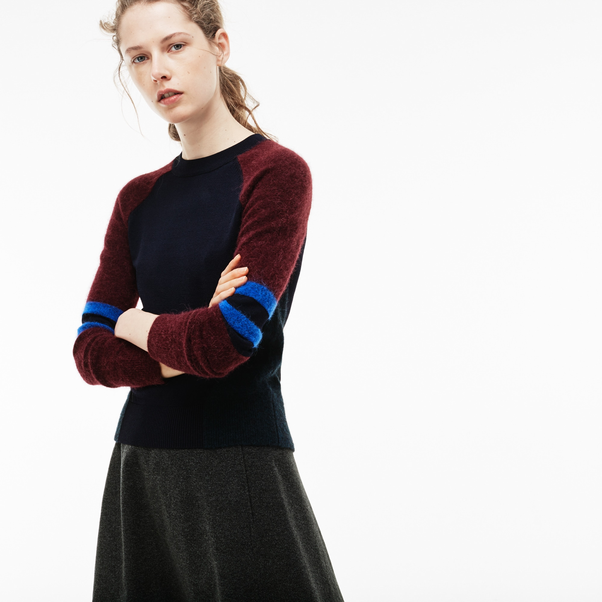 Women's Crew Neck Wool Jersey And Alpaca Colorblock Sweater