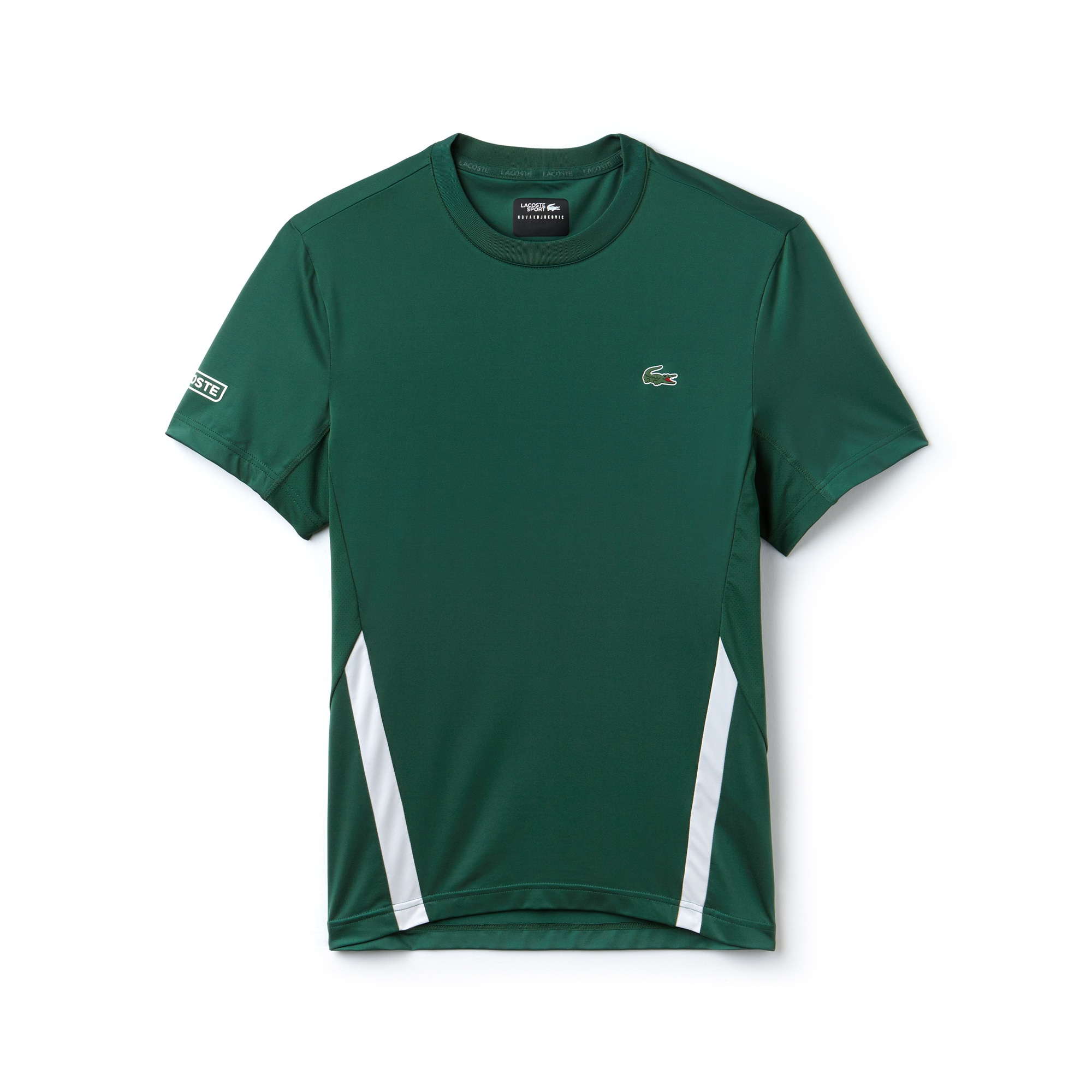 라코스테 Lacoste Mens SPORT Crew Neck Stretch Technical Jersey T-shirt - x Novak Djokovic Off Court Premium Edition,green / white