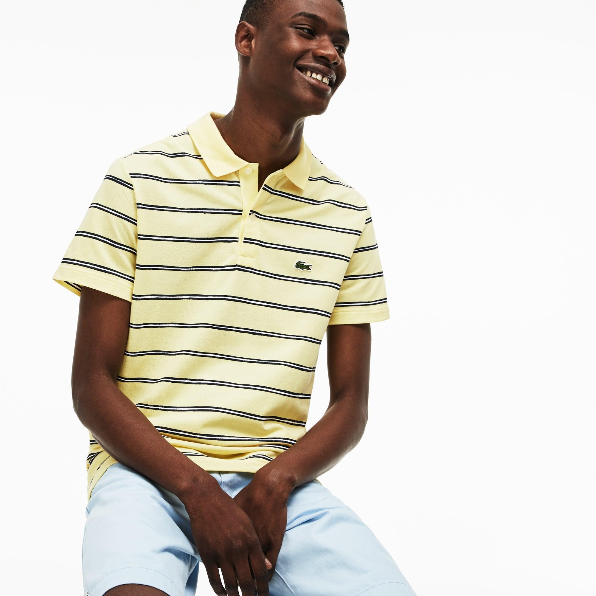 01fa09932c Men's Regular Fit Striped Mini Piqué Polo