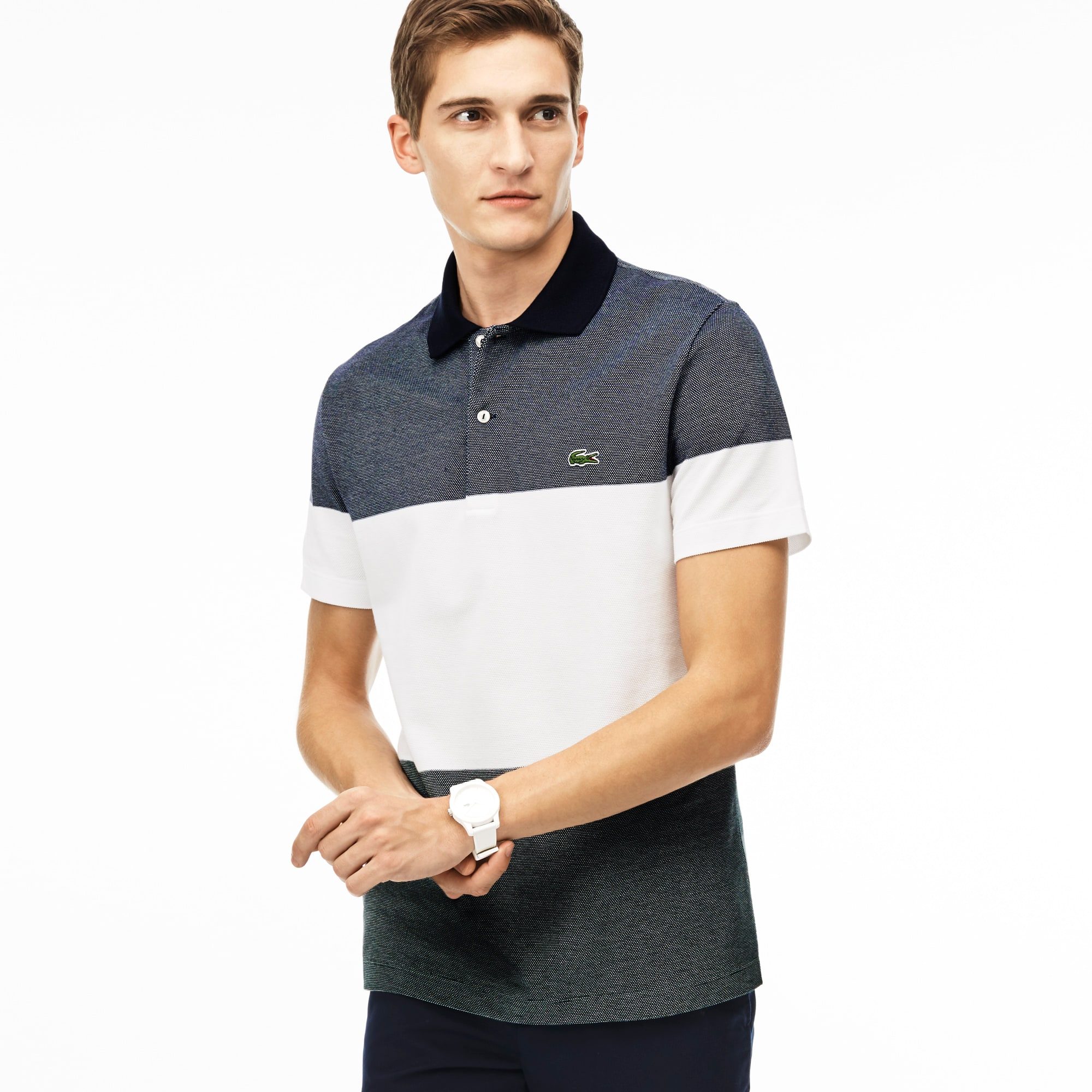 Men's Regular Fit Piqué Texturized Colorblock Polo Shirt