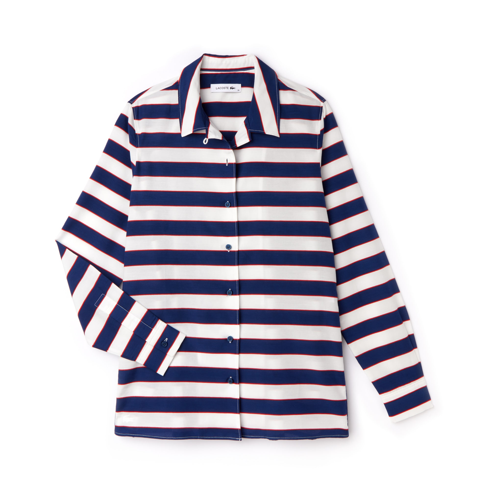Women's Regular Fit Striped Cotton & Silk Voile Shirt