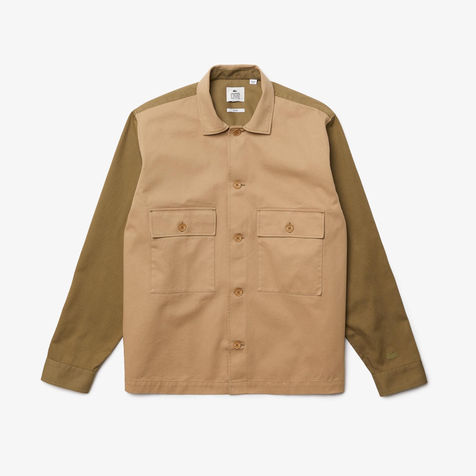 라코스테 라이브 남녀공용 셔츠 Lacoste Unisex LIVE Relaxed Fit Two-Tone Cotton Shirt,Beige / Khaki Green SQH