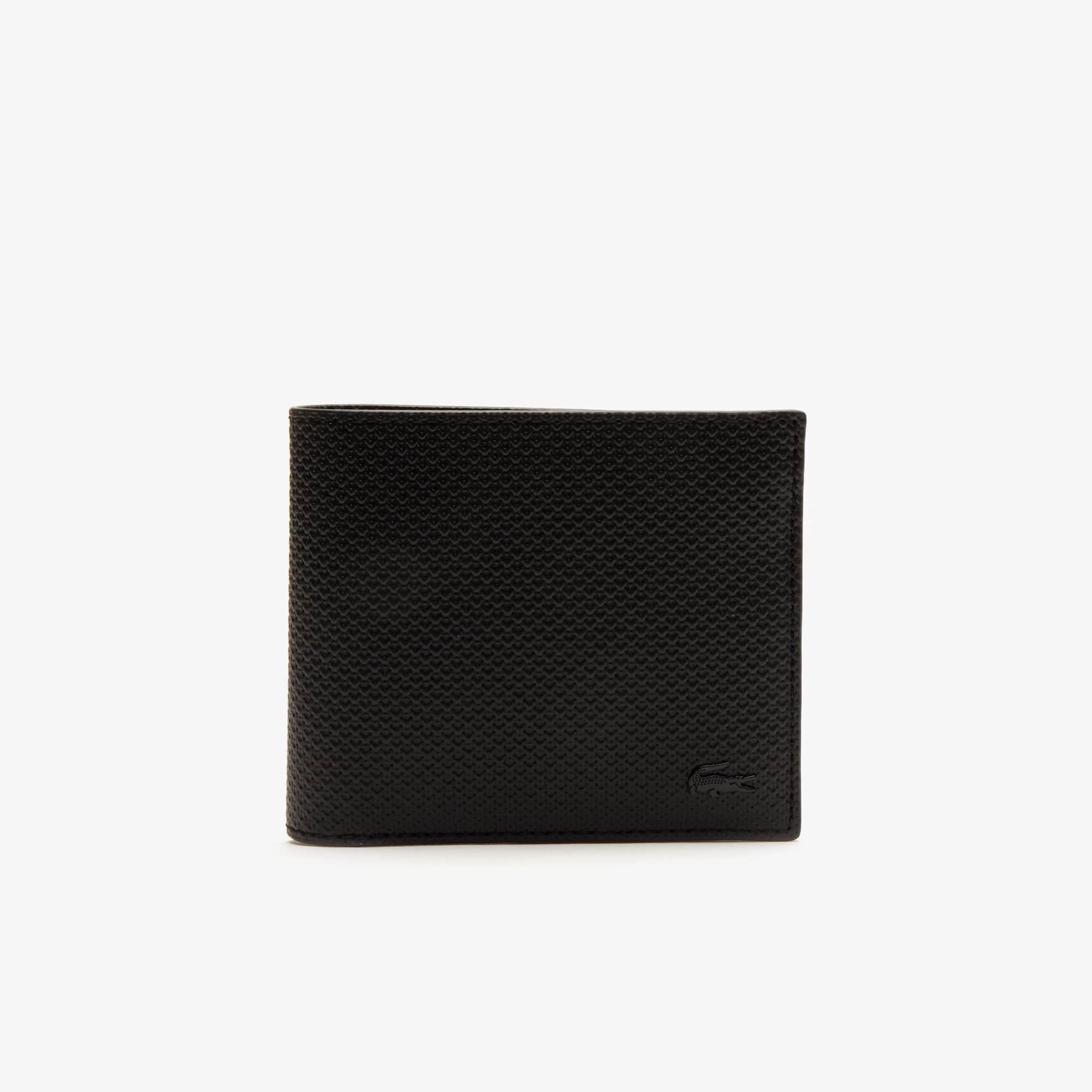 라코스테 Lacoste Mens Chantaco Pique Leather Wallet And Card Holder Set,BLACK