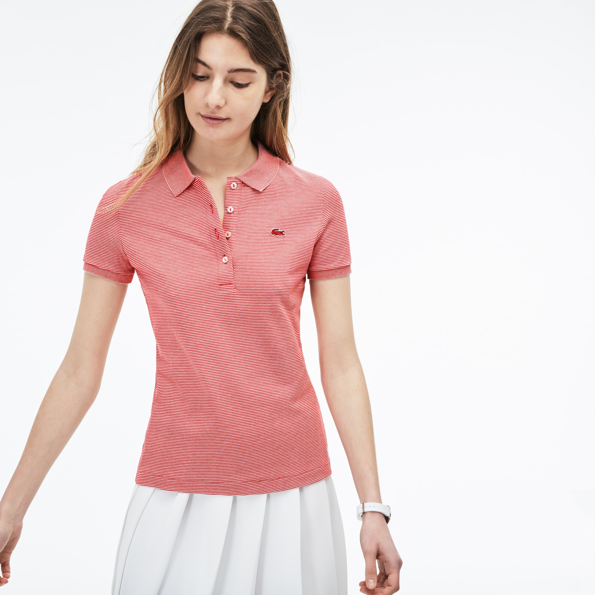 Women's Slim Fit Pinstriped Piqué Polo
